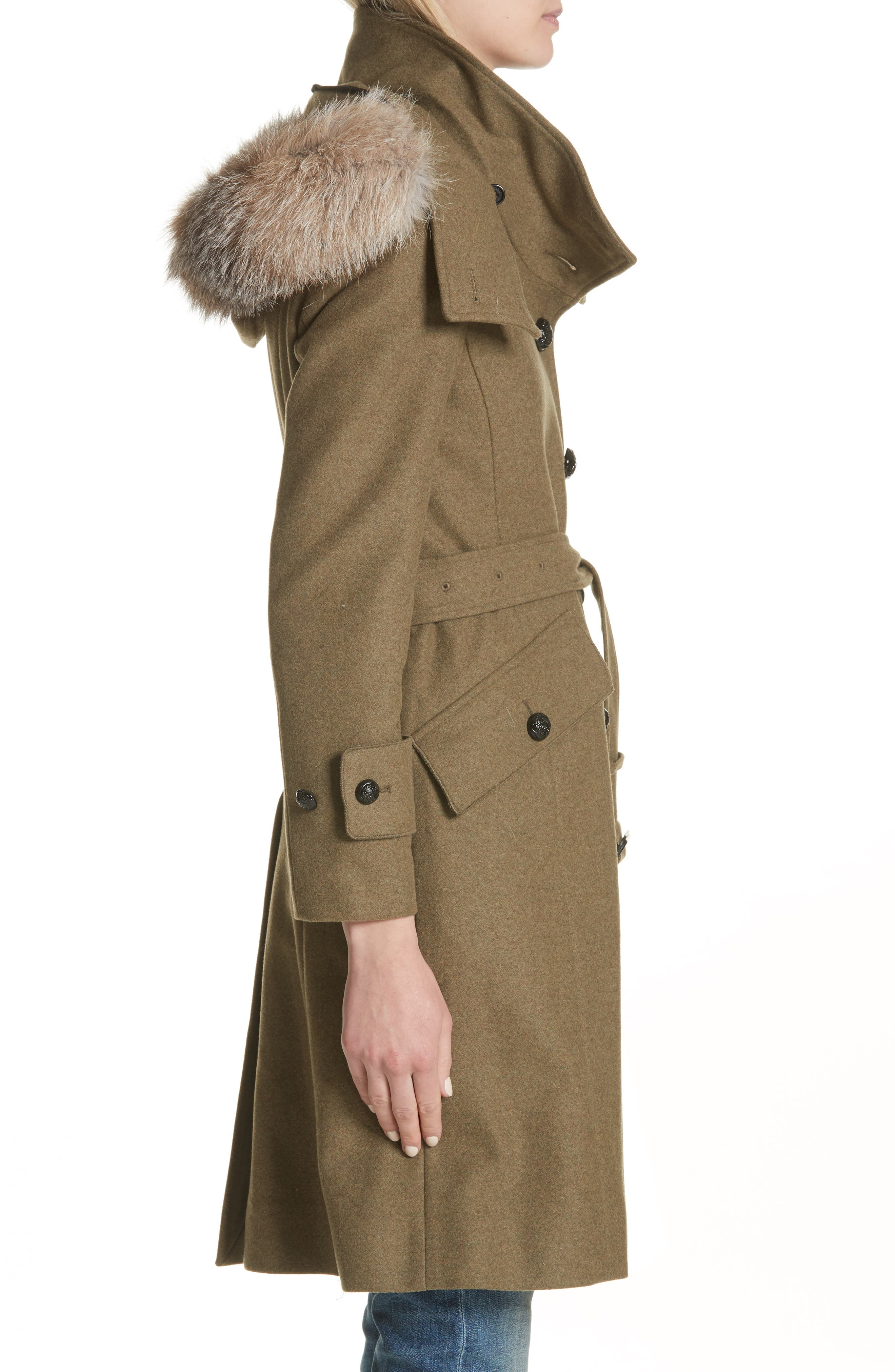 Alternate Image 3  - Burberry Claybrooke Wool Blend Coat with Removable Genuine Fox Fur Trim