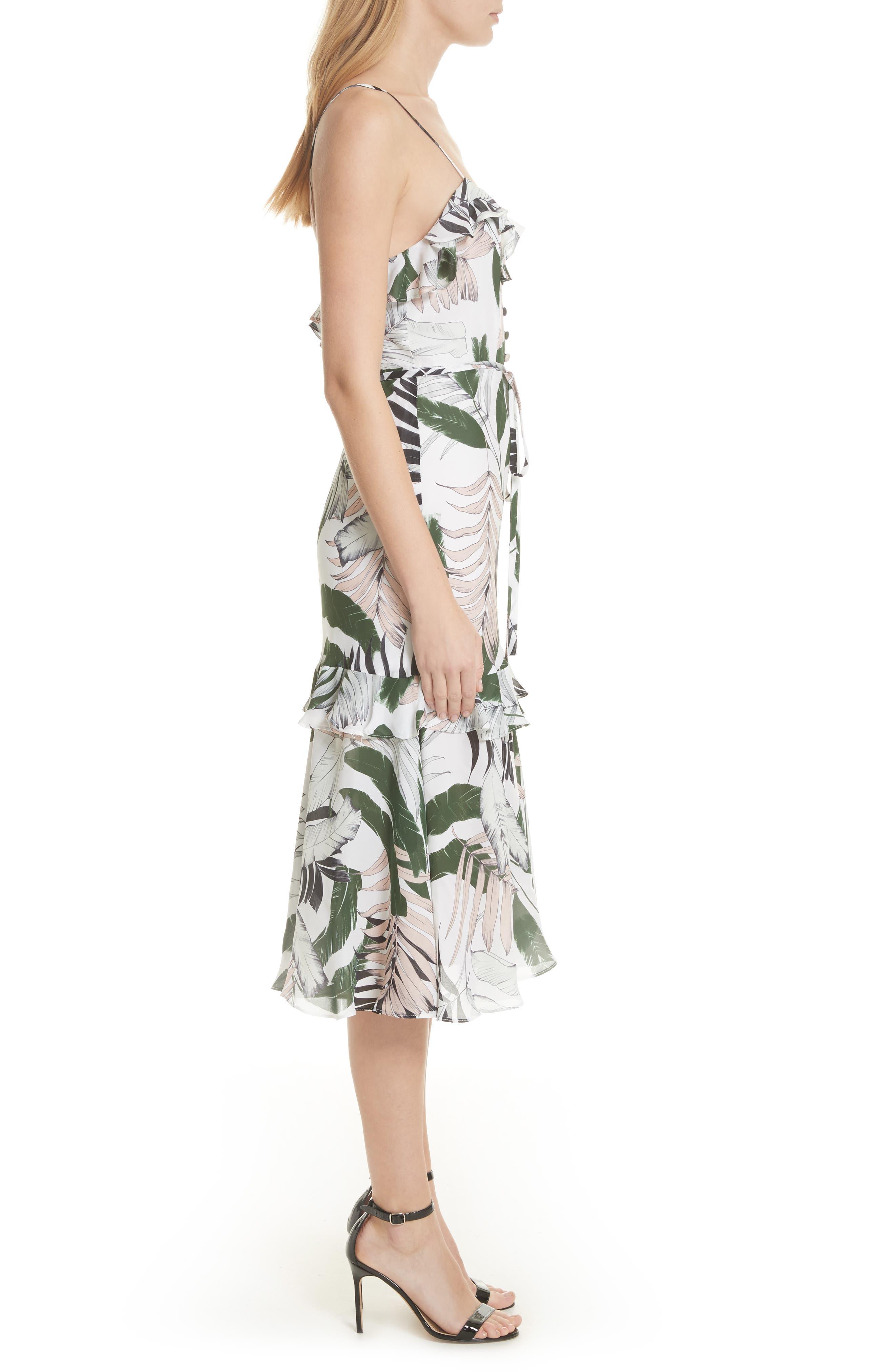 Petal Print Silk Midi Dress,                             Alternate thumbnail 3, color,                             Multi
