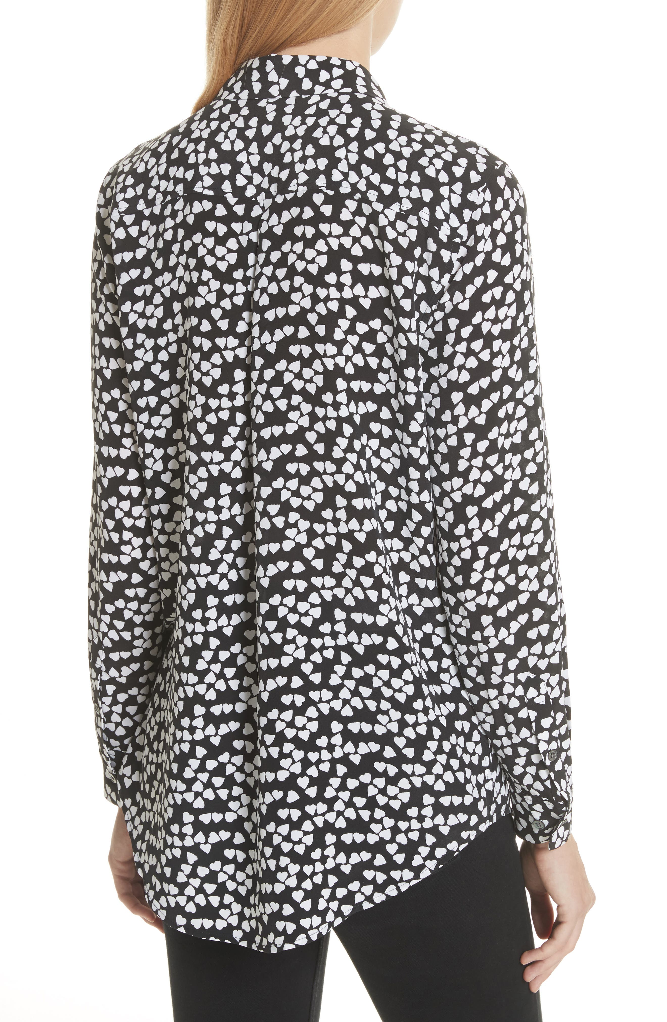 Essential Heart Print Silk Shirt,                             Alternate thumbnail 2, color,                             True Black-Bright White