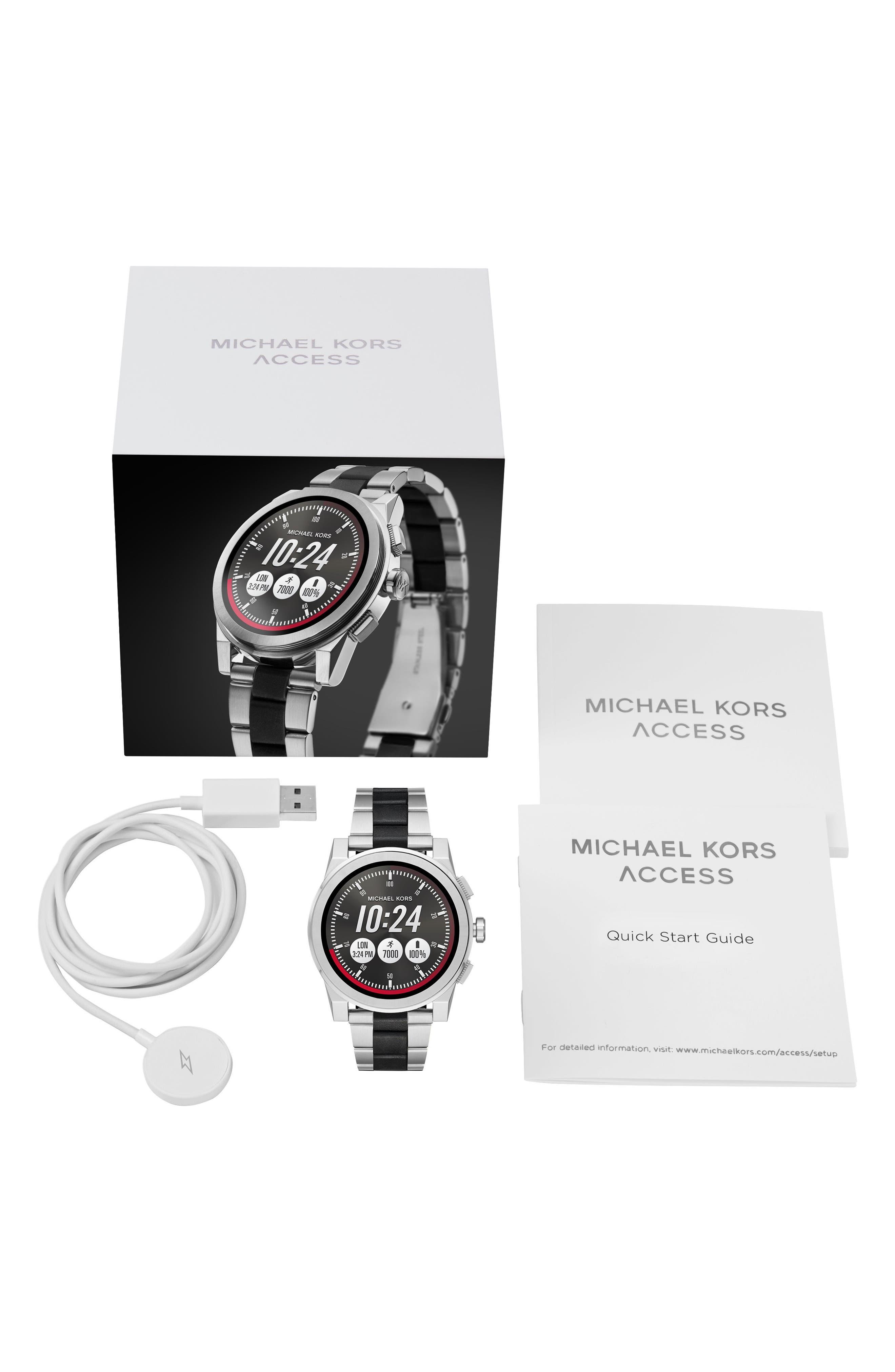 Grayson Bracelet Touchscreen Smart Watch, 47mm,                             Alternate thumbnail 5, color,                             Silver/ Black