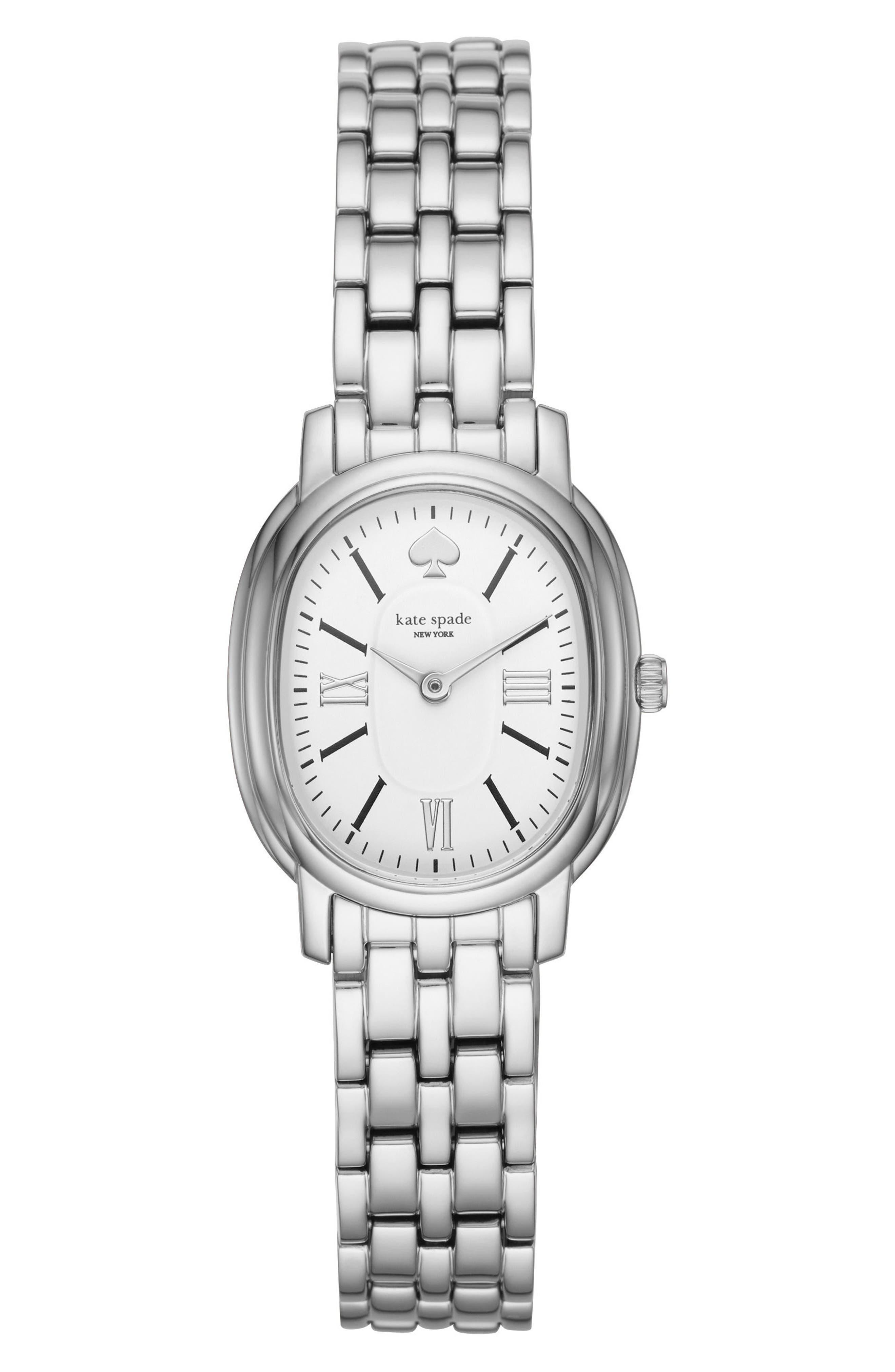 staten bracelet watch, 25mm x 33mm,                         Main,                         color, Silver/ White/ Silver