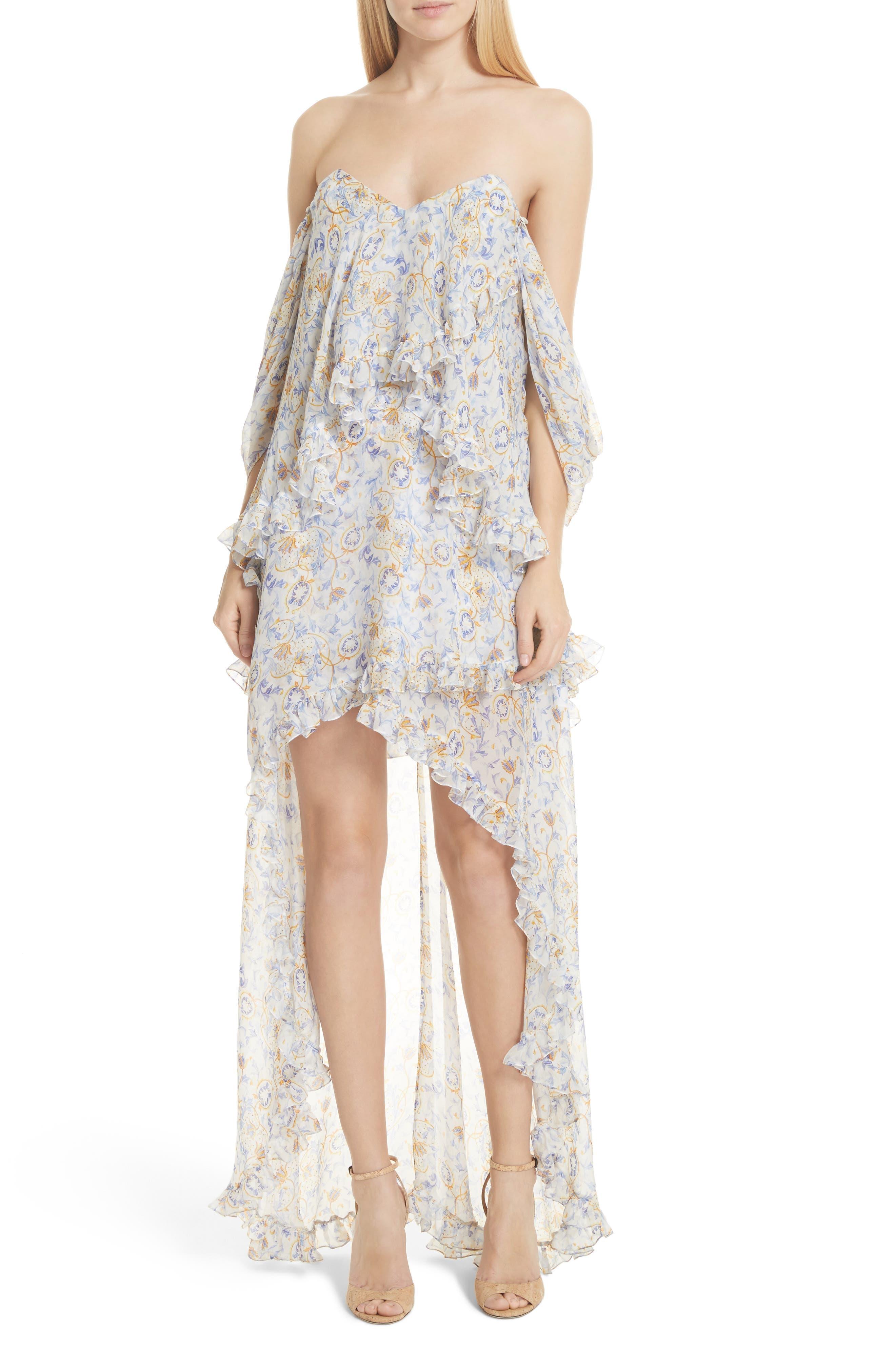 Melina Off the Shoulder High/Low Dress,                         Main,                         color, Blue
