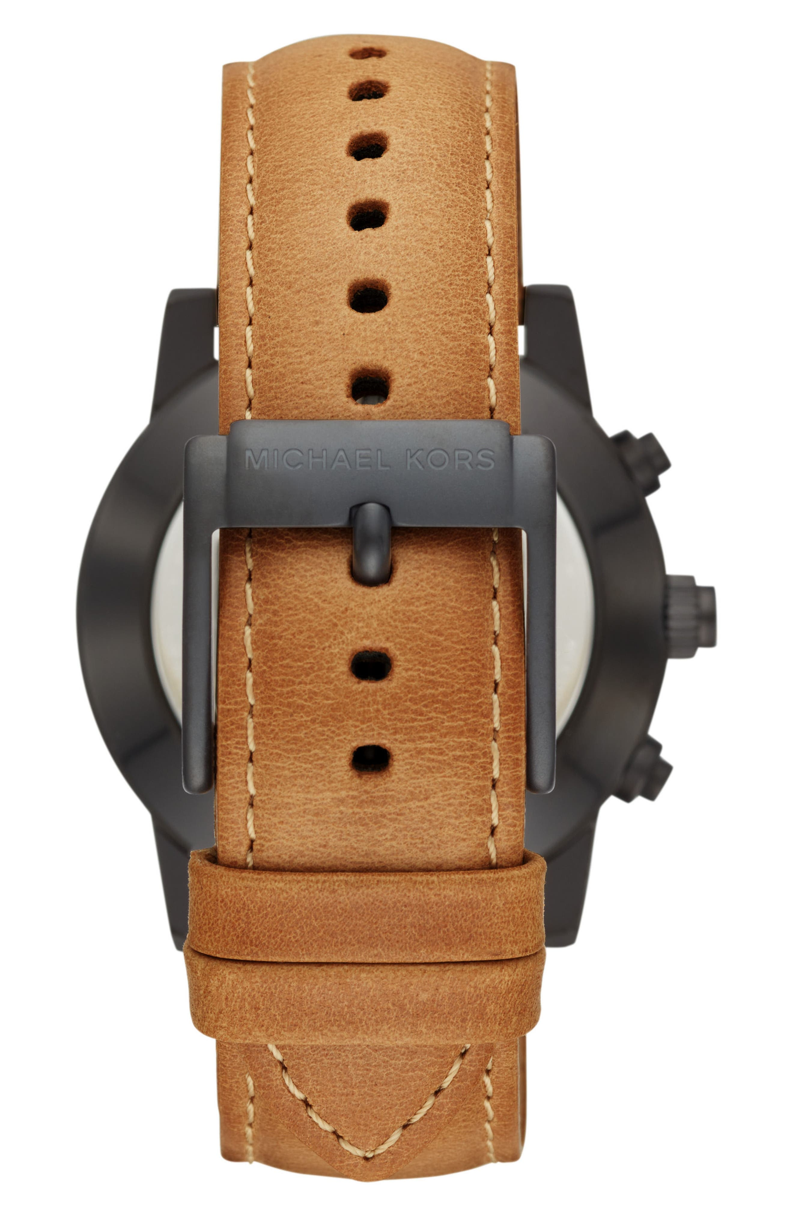 Scout Hybrid Leather Strap Smart Watch, 43mm,                             Alternate thumbnail 3, color,                             Brown/ Black