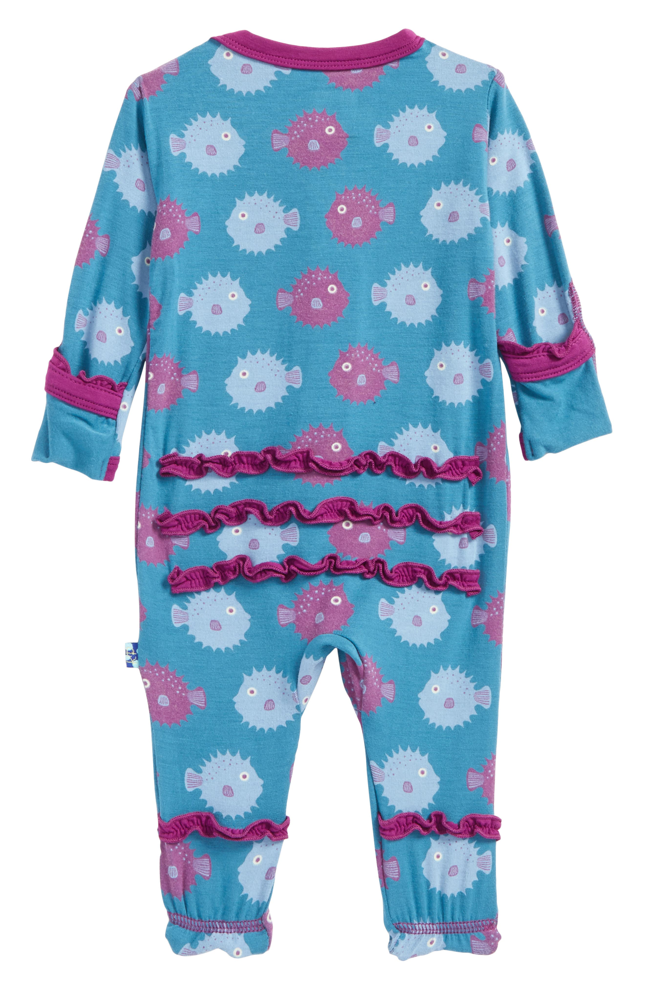 Print Ruffle Footie,                             Alternate thumbnail 2, color,                             Seagrass Puffer