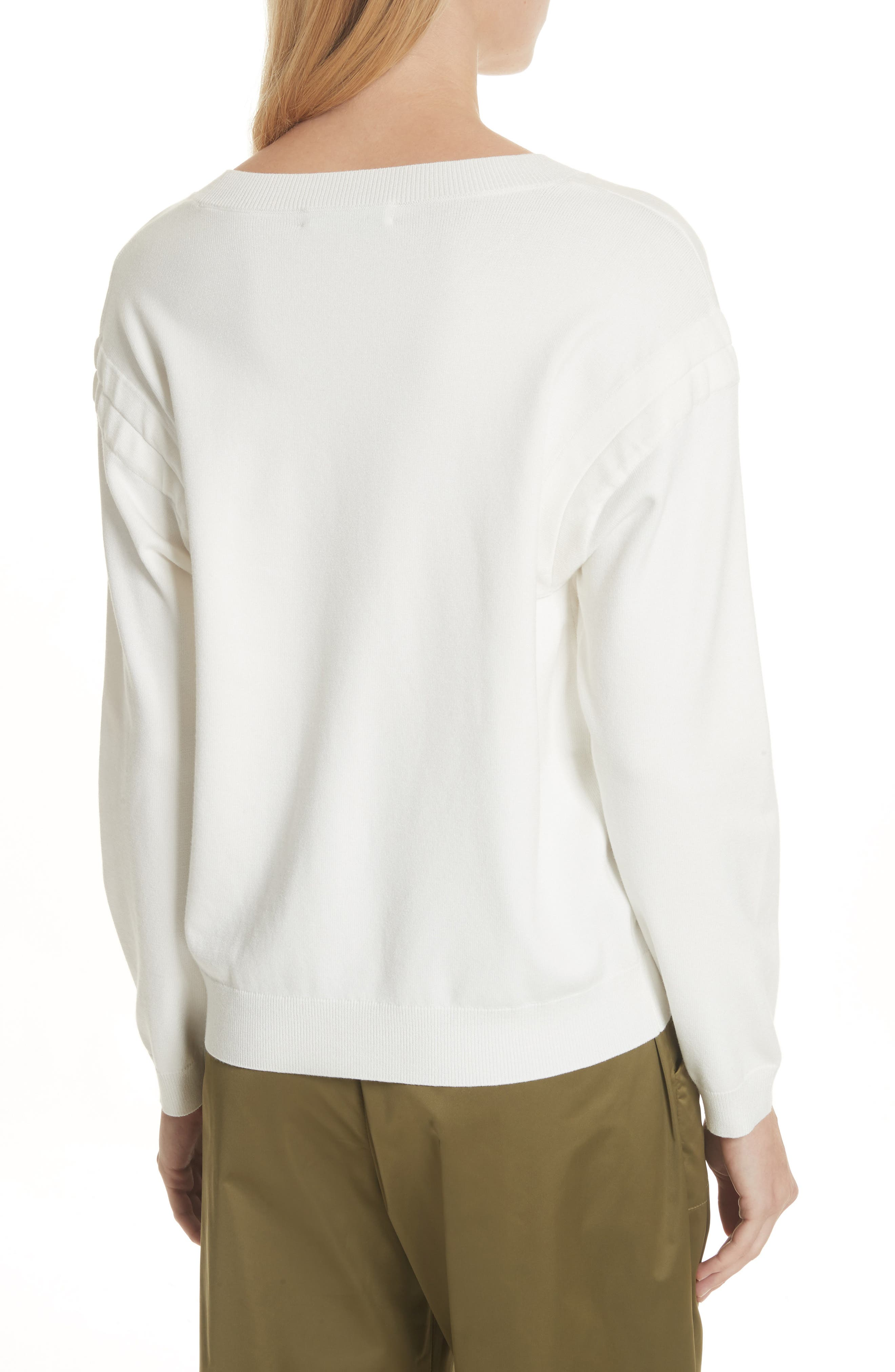 Tunneled Tie Sweatshirt,                             Alternate thumbnail 2, color,                             White
