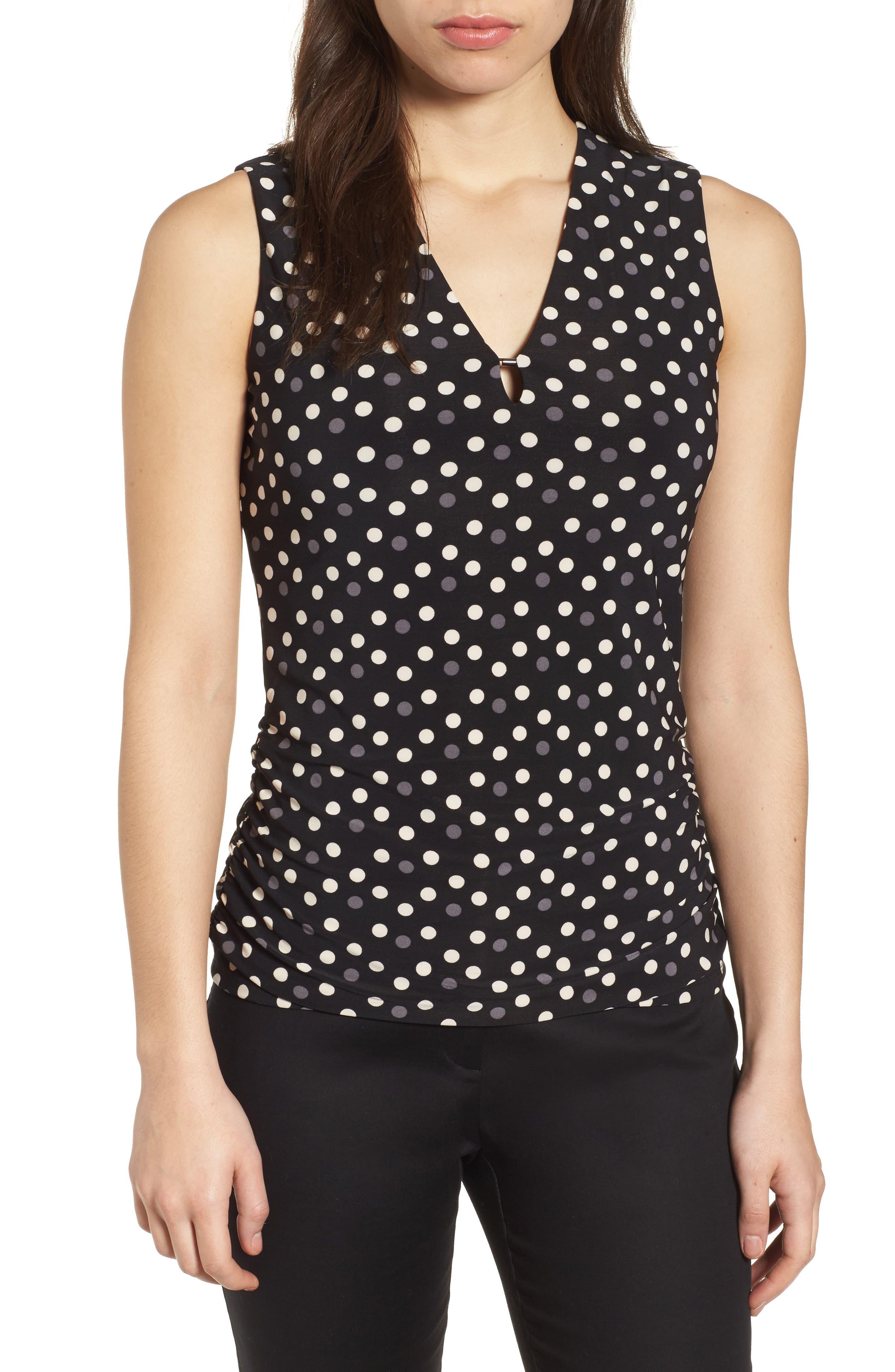 Splashy Dot Matte Jersey Top,                         Main,                         color, Black/ Parchment Combo