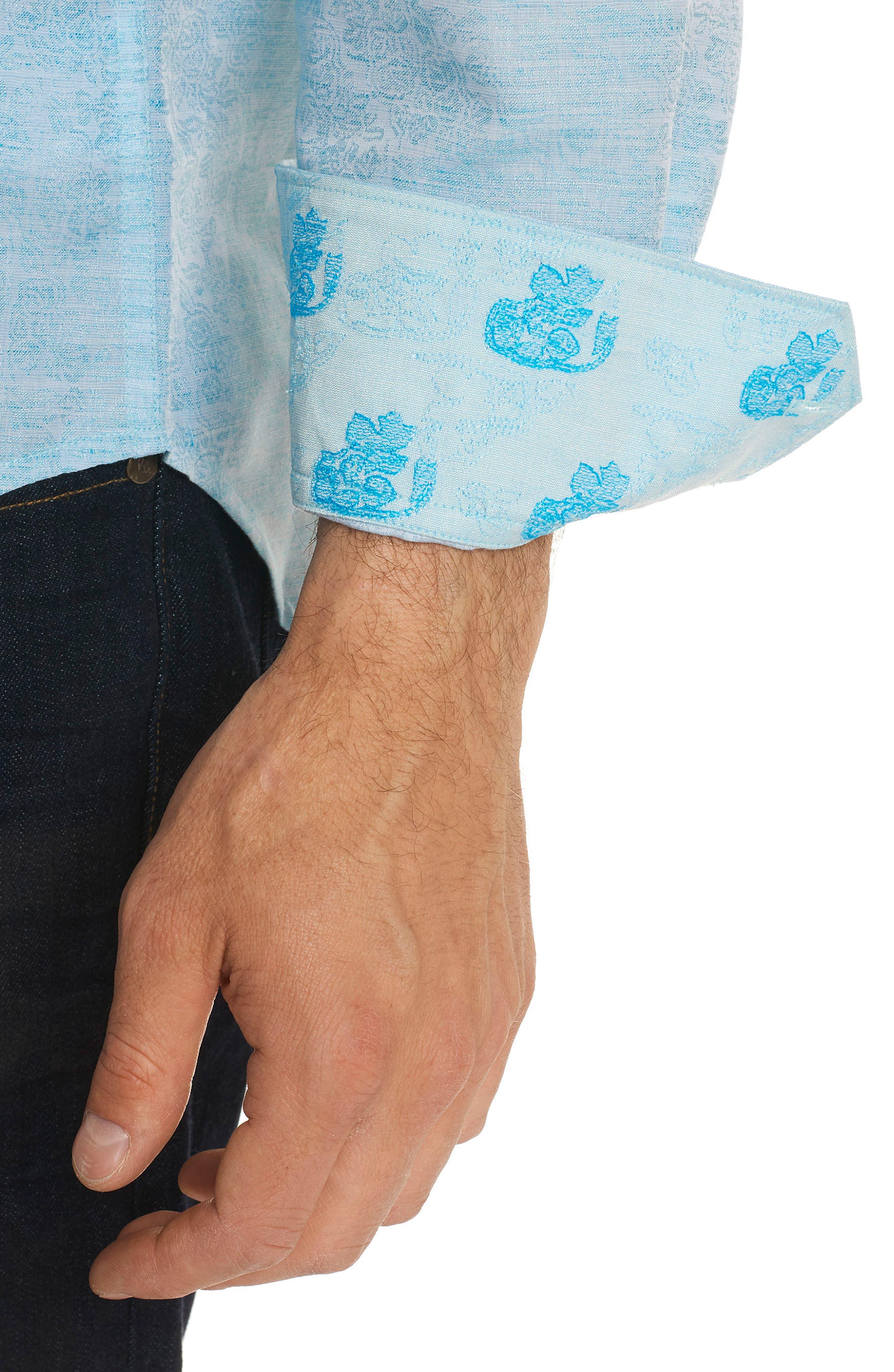 Cyprus Classic Fit Linen & Cotton Sport Shirt,                             Alternate thumbnail 5, color,                             Teal