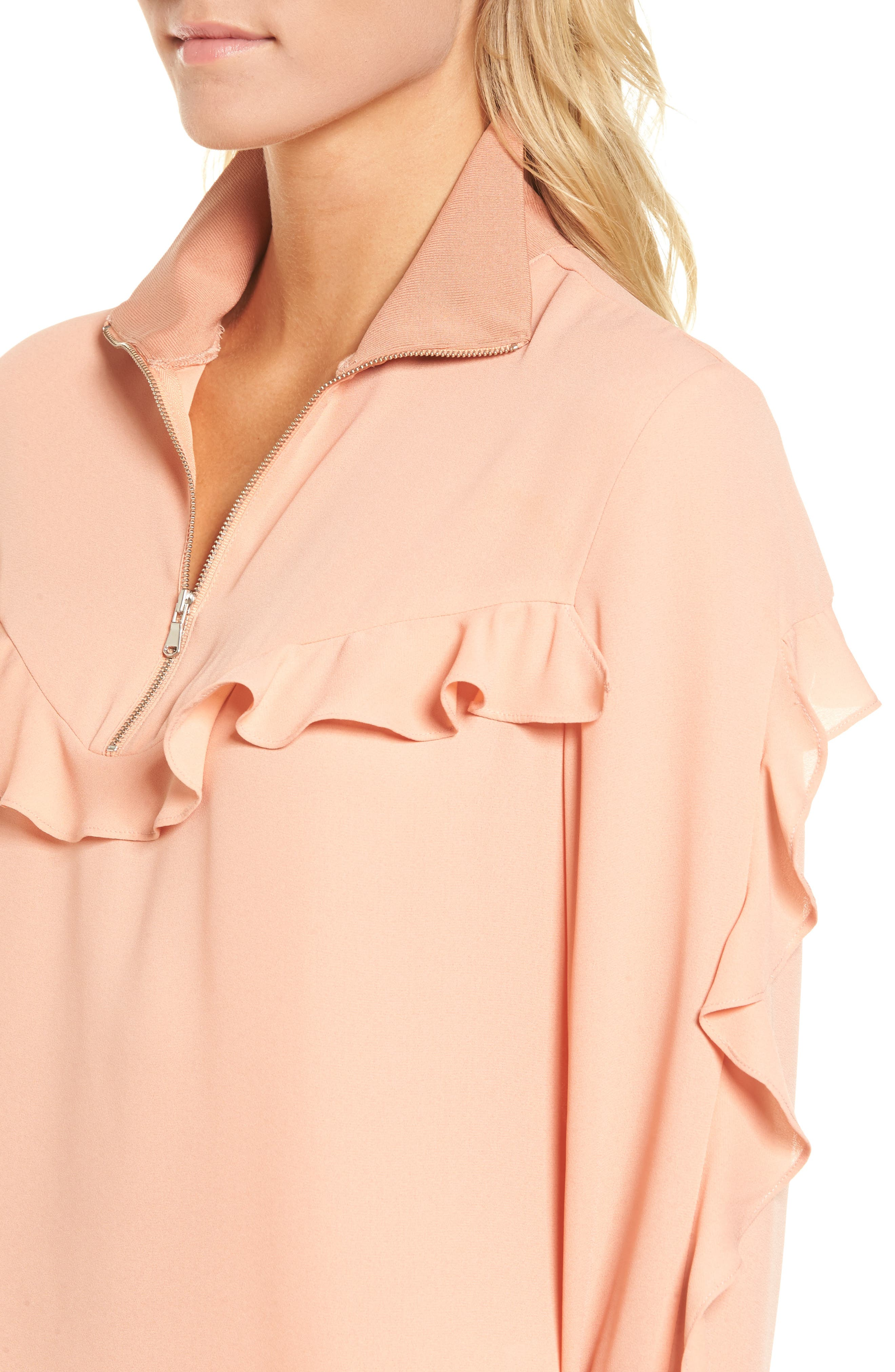 Ruffle Track Top,                             Alternate thumbnail 4, color,                             Coral Muted