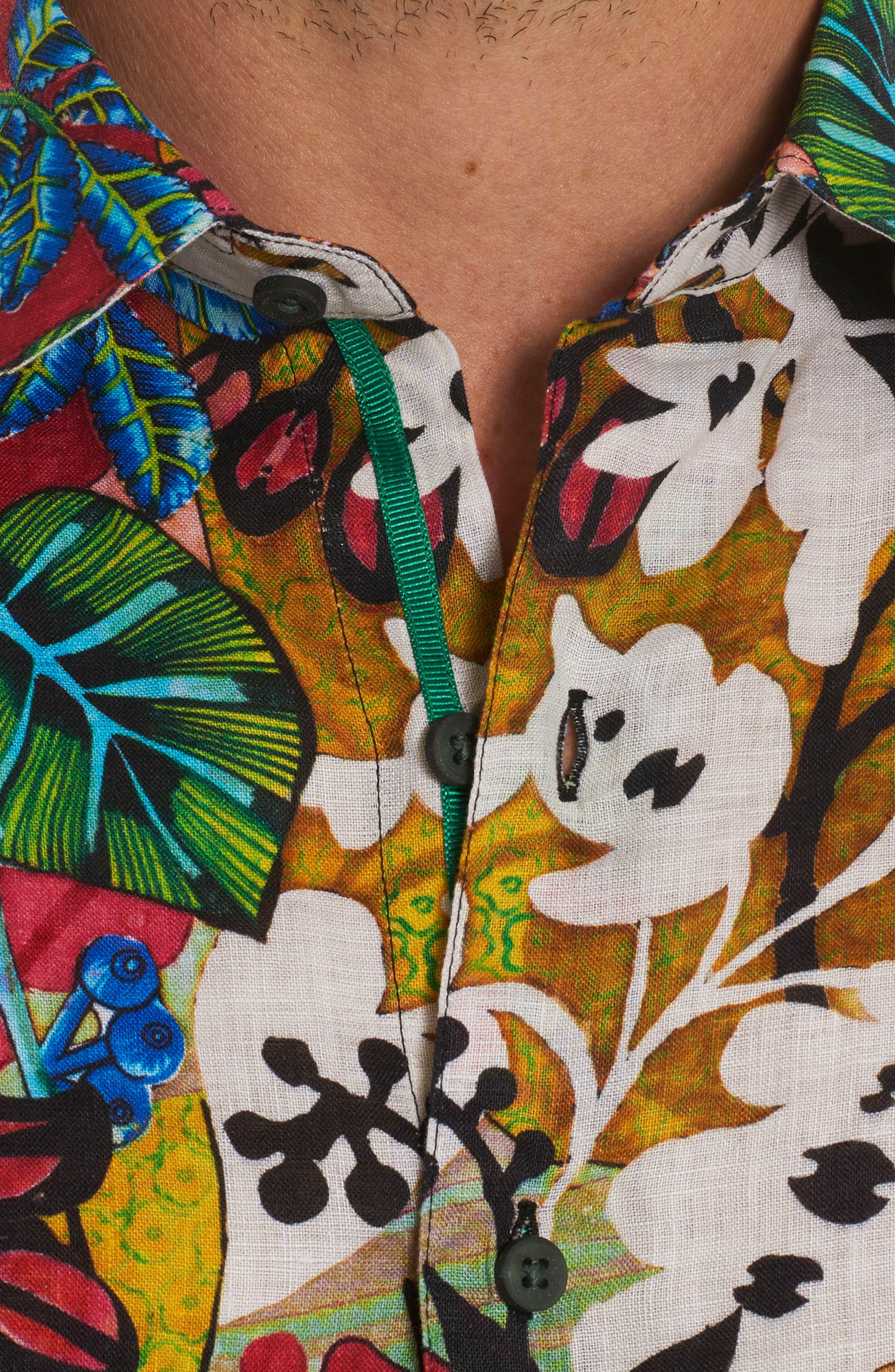 Havana Linen Sport Shirt,                             Alternate thumbnail 4, color,                             Multi