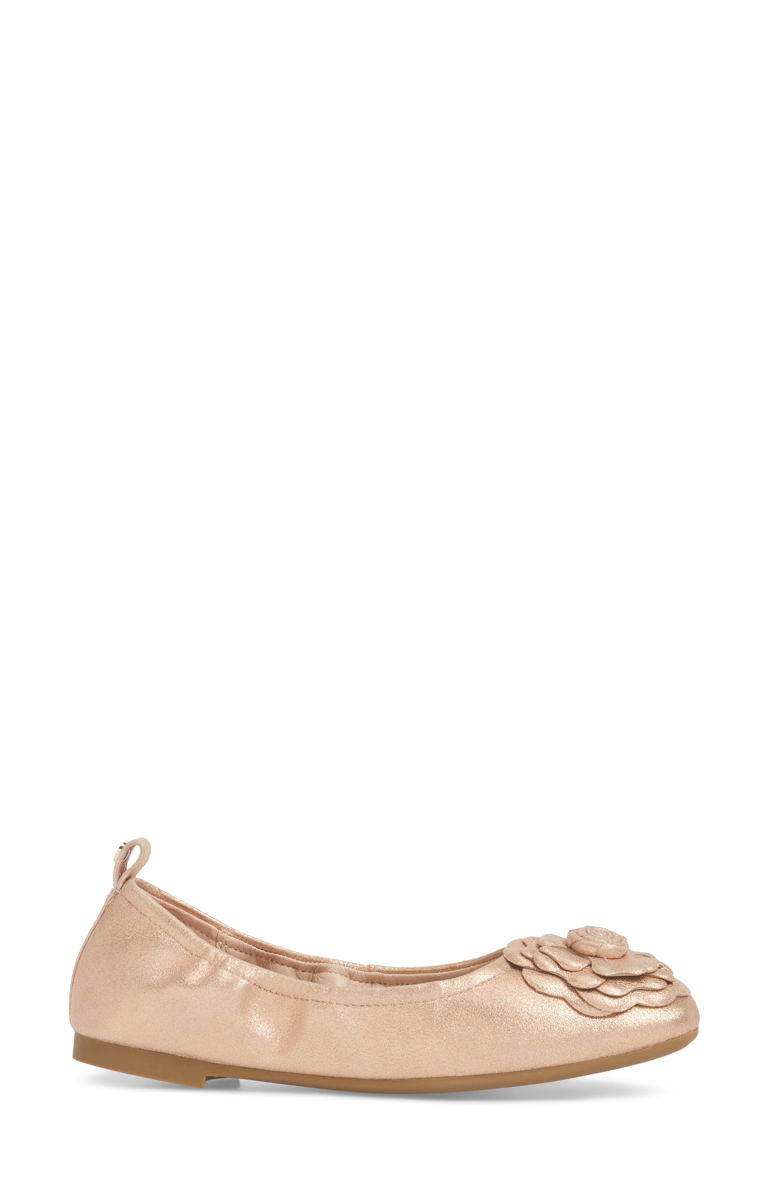 Rosalyn Ballet Flat,                             Alternate thumbnail 3, color,                             Rose Gold Leather