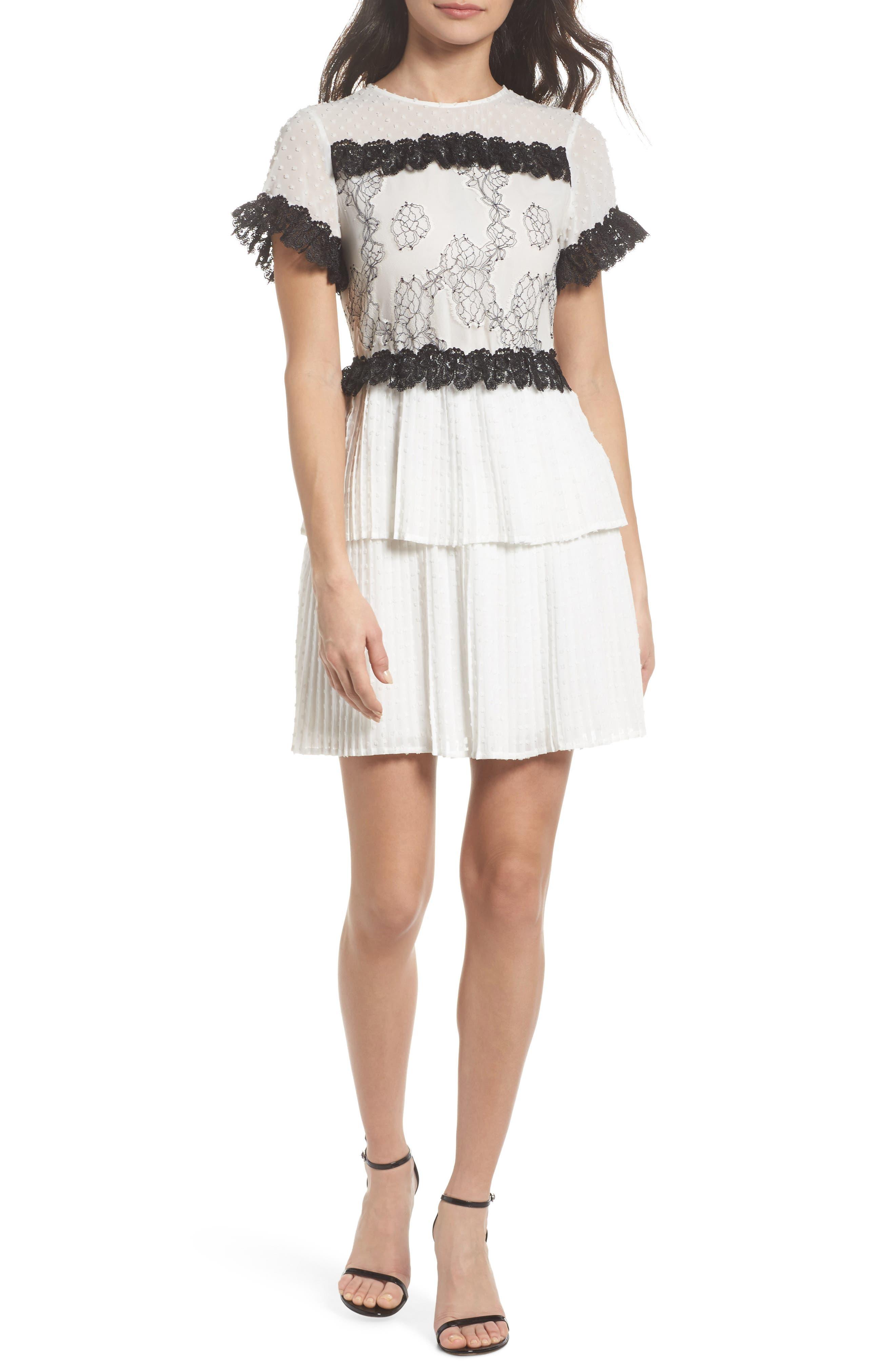 Melita Tiered Lace Dress,                             Main thumbnail 1, color,                             White W/ Black Lace