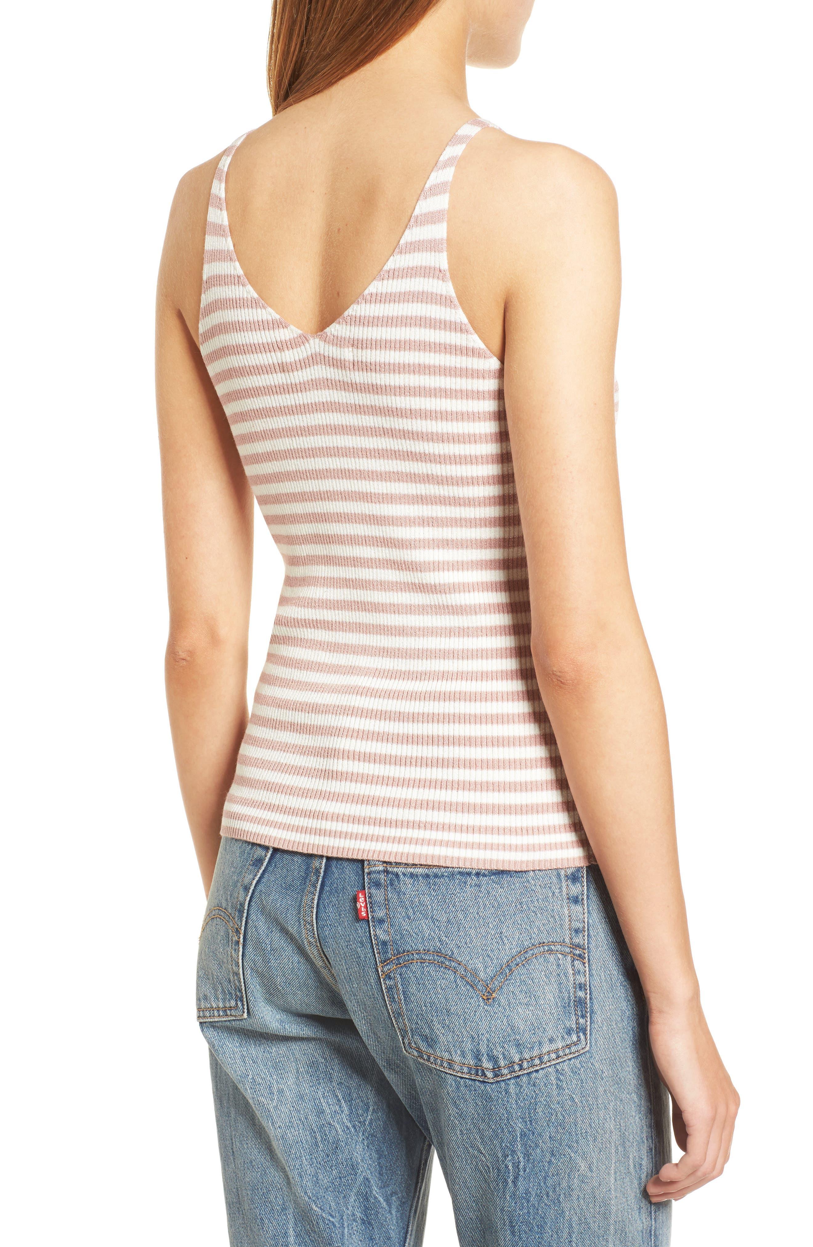 Stripe Sweater Camisole,                             Alternate thumbnail 2, color,                             Pink/ White Stripe