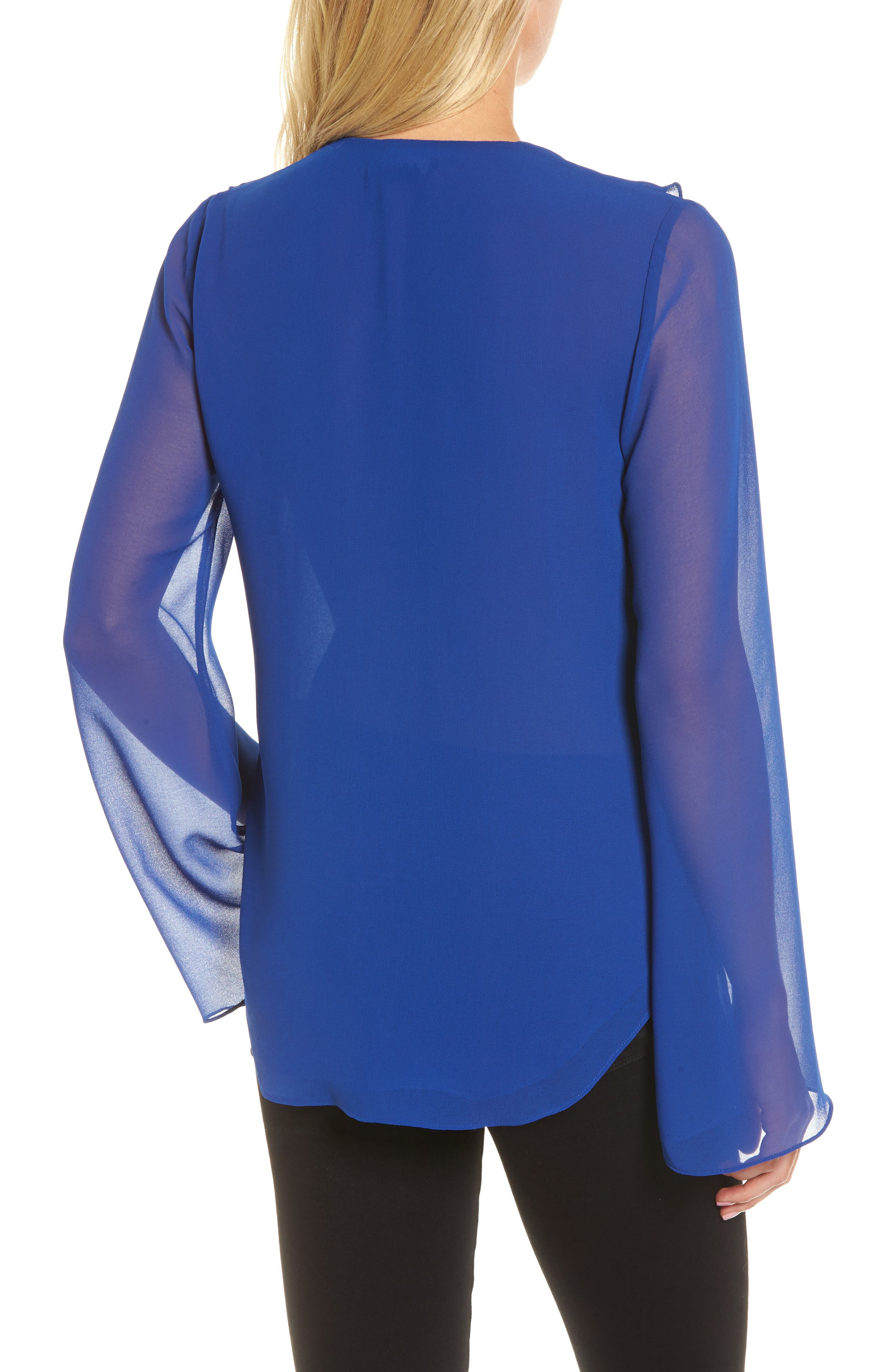 Ruffle V-Neck Blouse,                             Alternate thumbnail 2, color,                             Blue Mazarine