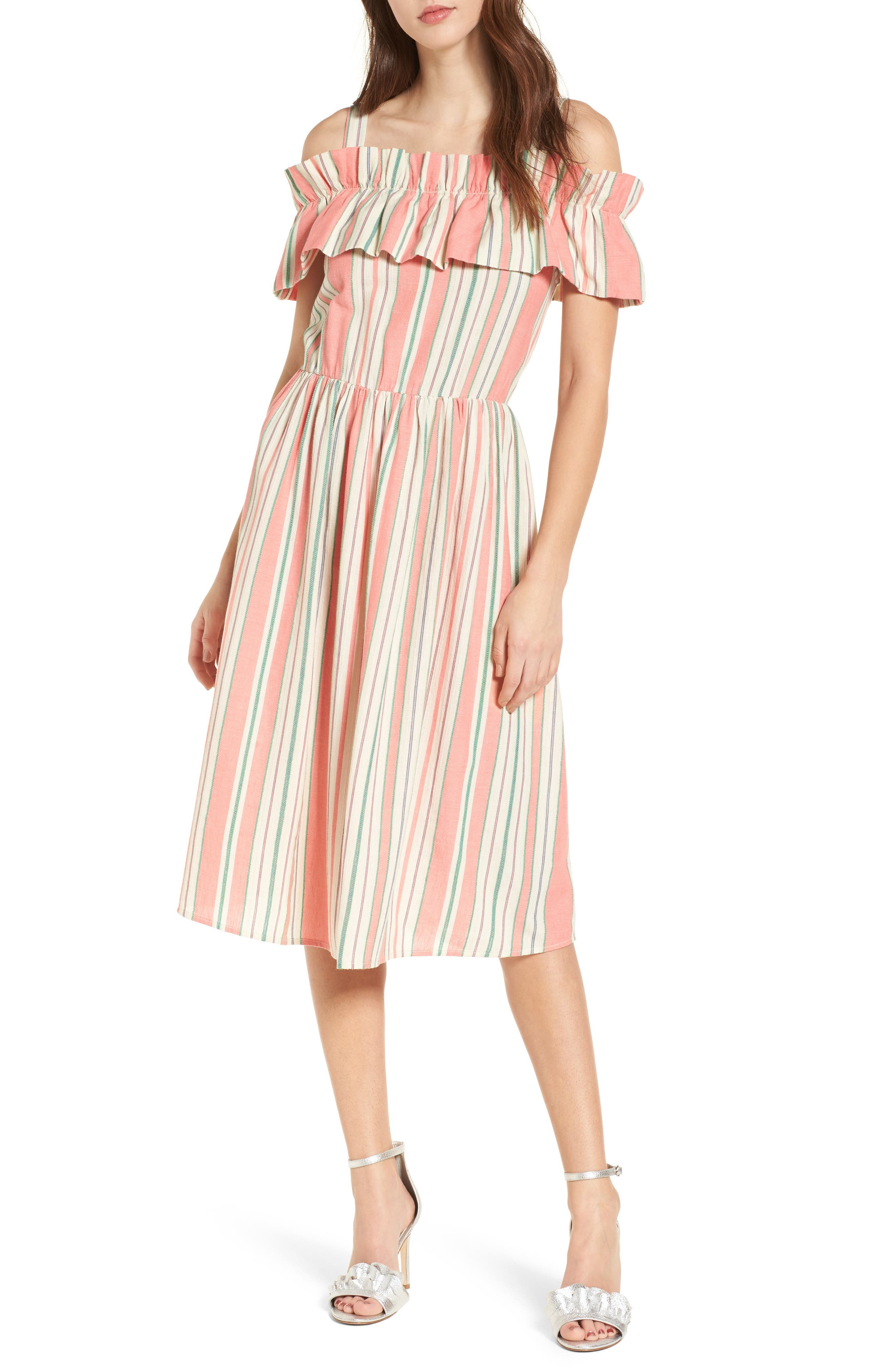 Stripe Ruffle Cold Shoulder Dress,                         Main,                         color, Coral Amber Bold Stripe