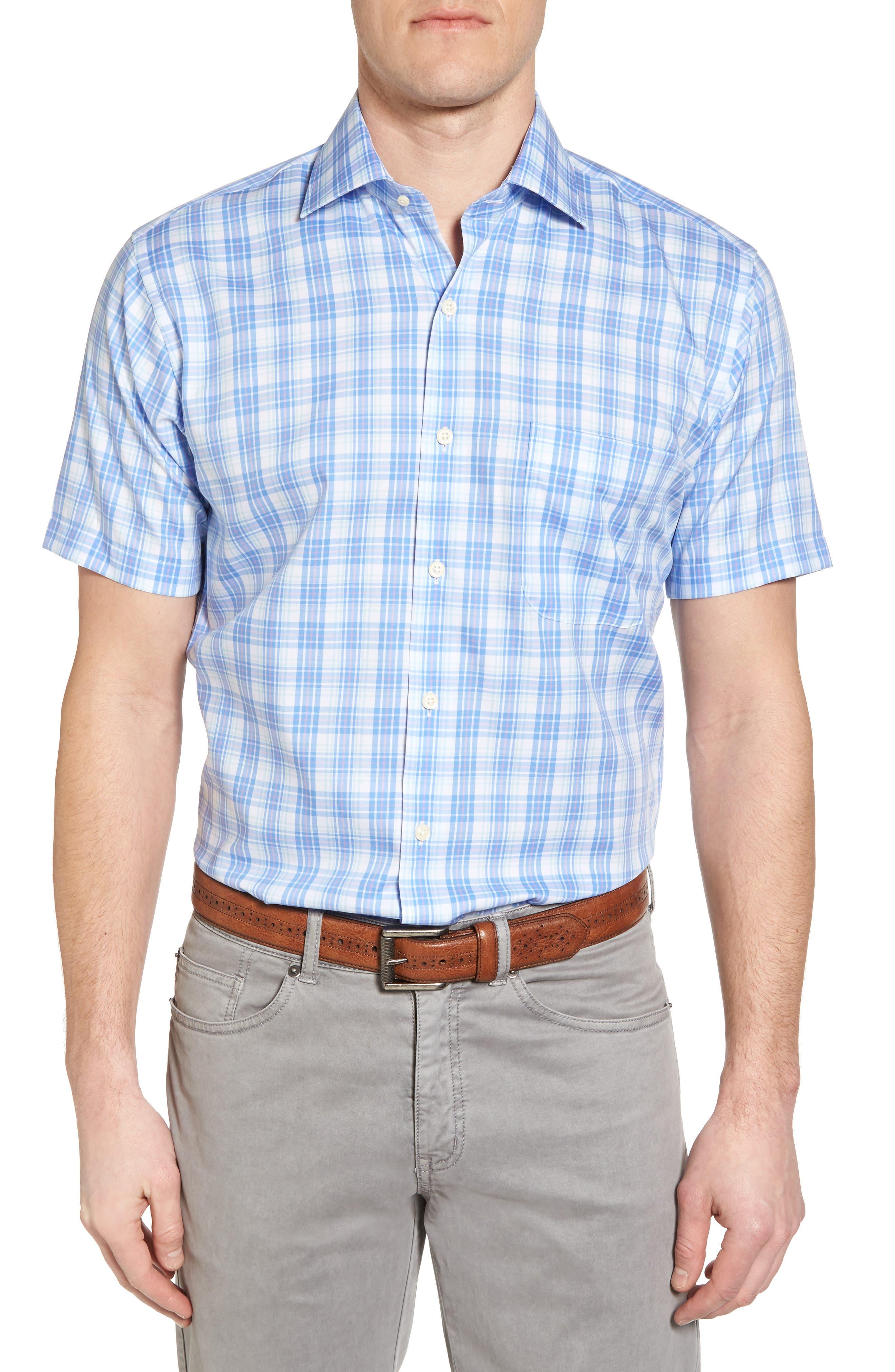 Crown Ease Sloan Regular Fit Plaid Sport Shirt,                             Main thumbnail 1, color,                             Atlas Blue