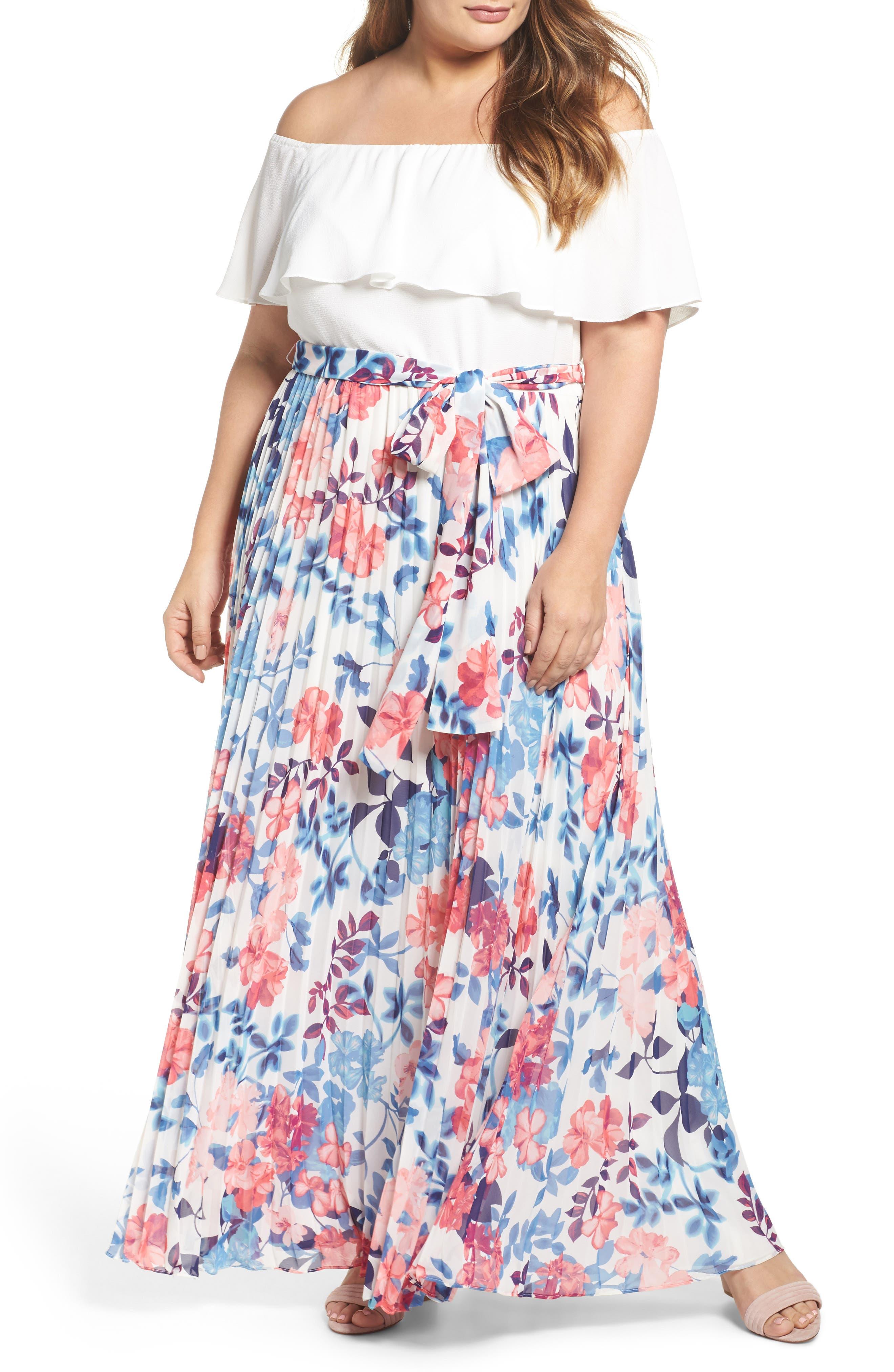Off the Shoulder Maxi Dress,                             Main thumbnail 1, color,                             Ivory Blue