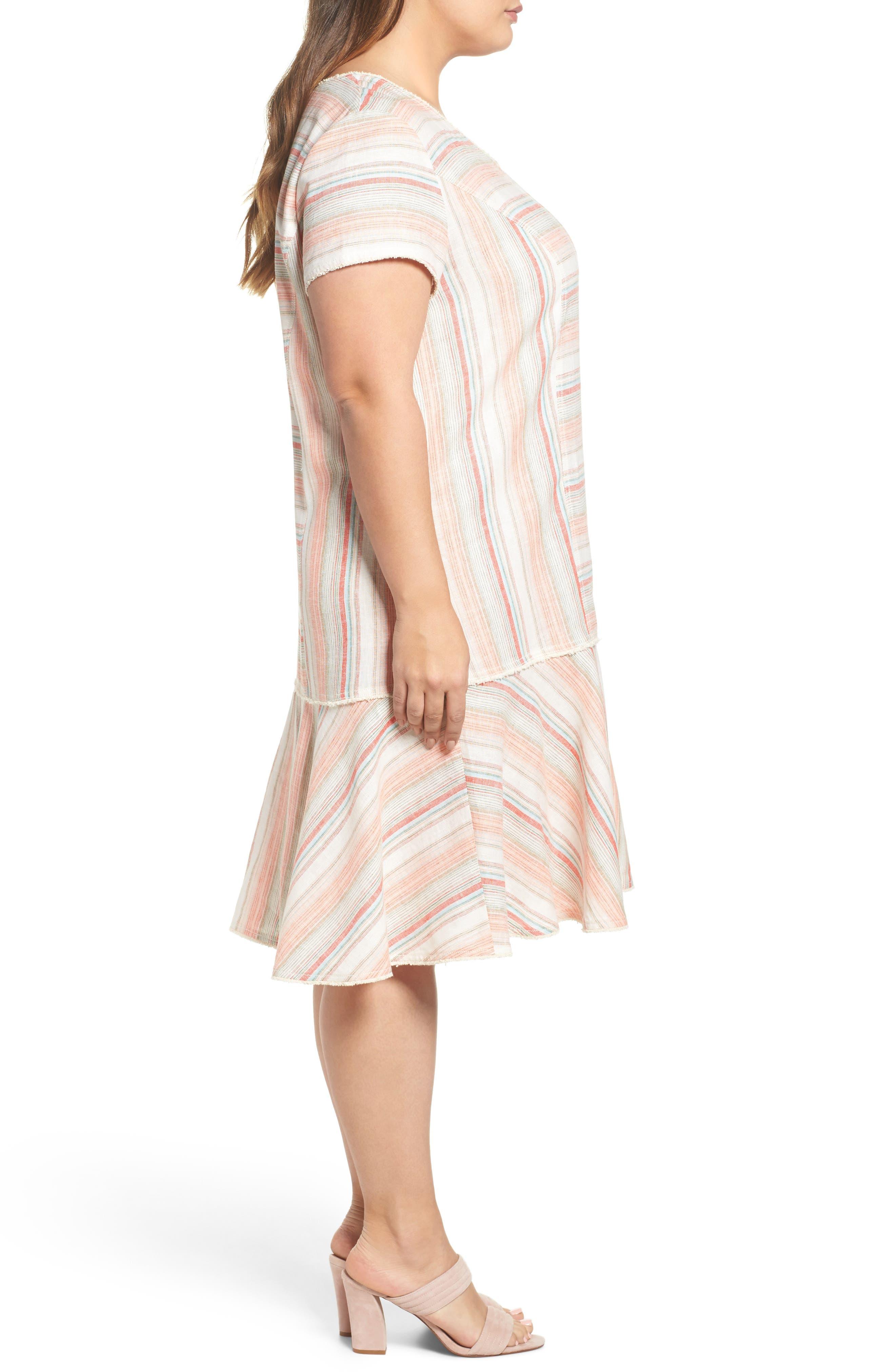 Raw Edge Stripe Linen Blend Dress,                             Alternate thumbnail 3, color,                             Coral Stripe