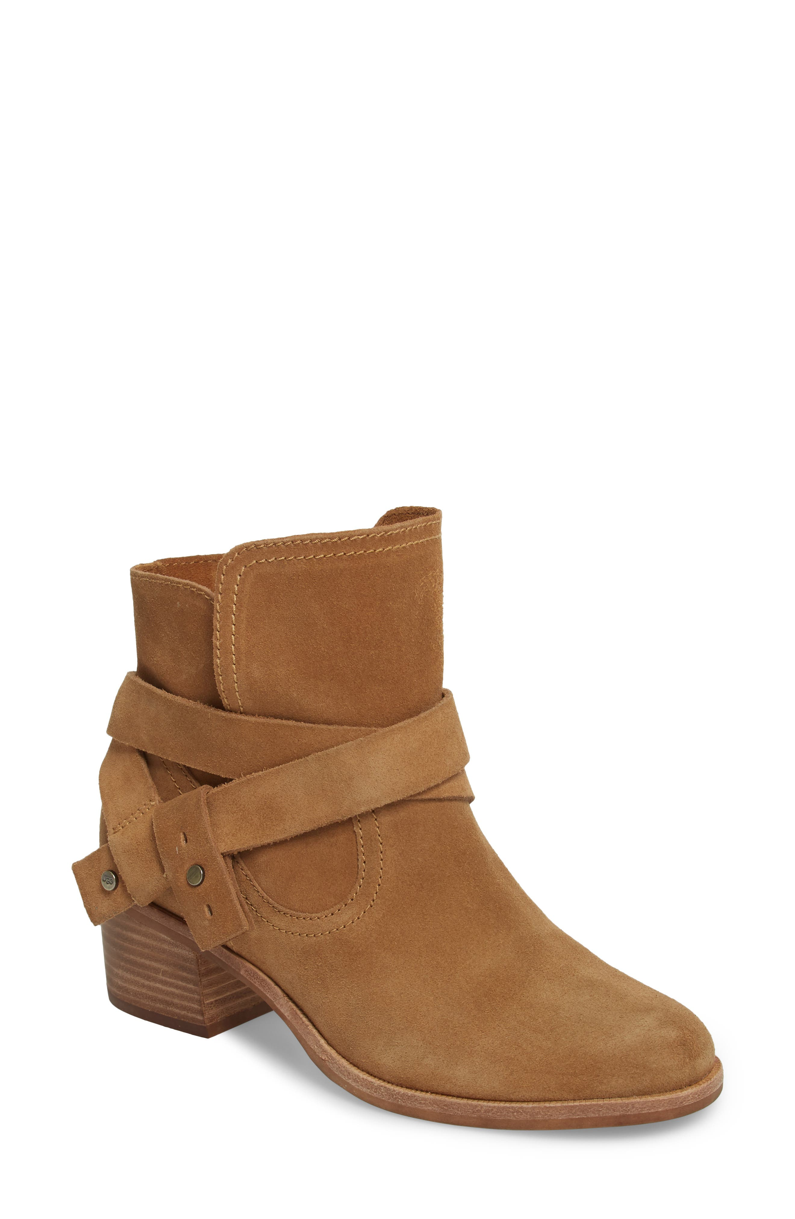 Elora Bootie,                             Main thumbnail 1, color,                             Chestnut Suede