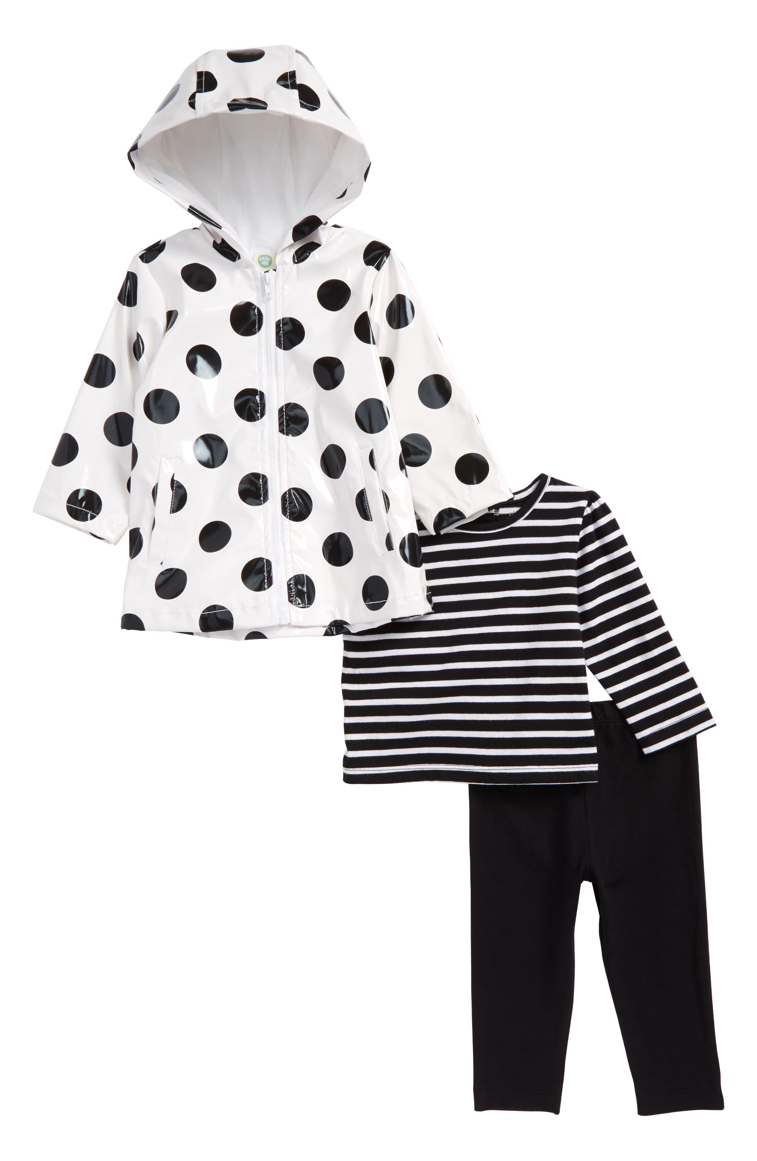 Main Image - Little Me Daisy Stripe Tee, Leggings & Polka Dot Hooded Raincoat Set (Baby Girls)