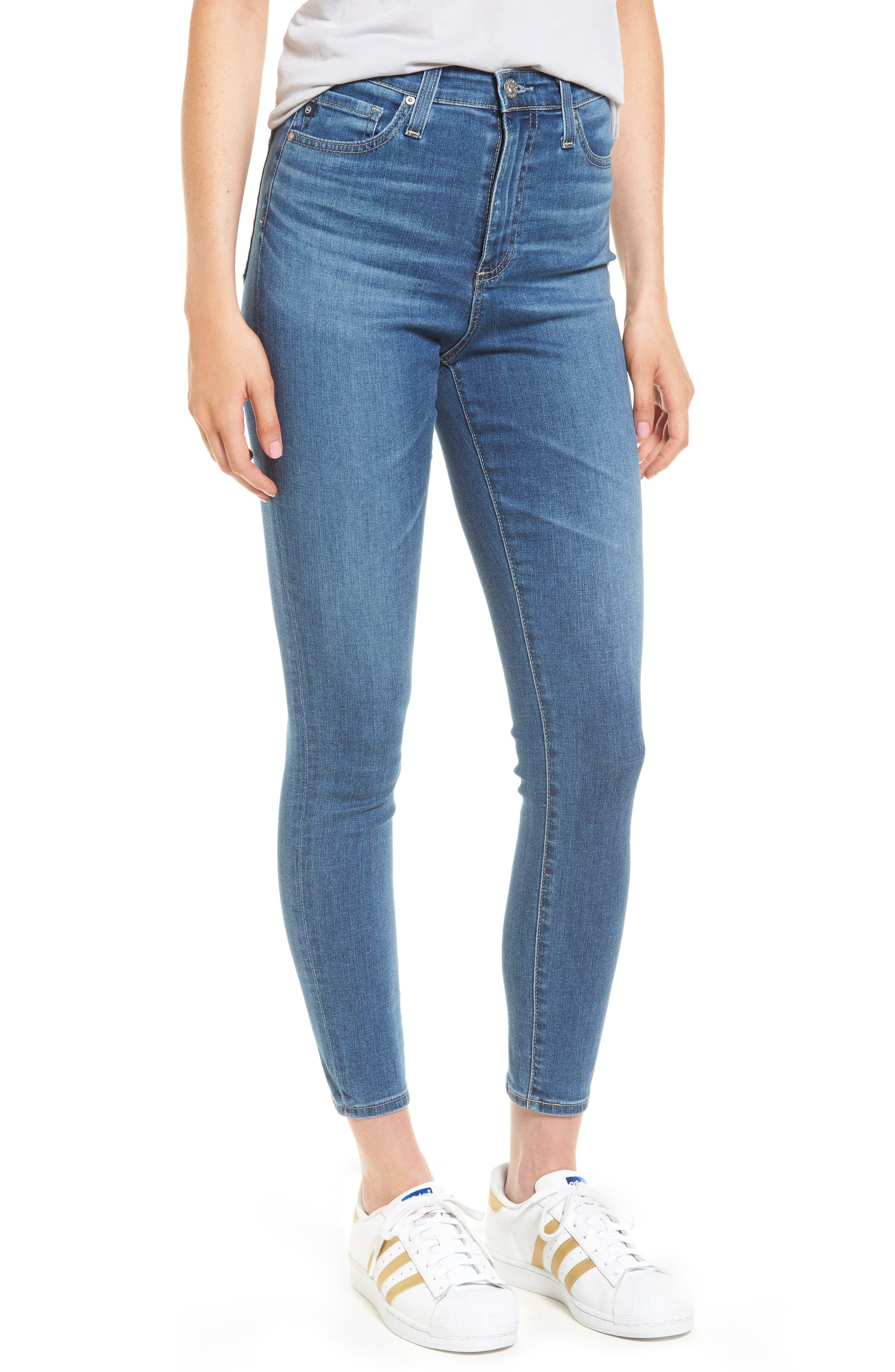 Mila High Waist Ankle Skinny Jeans,                         Main,                         color, Indigo Viking
