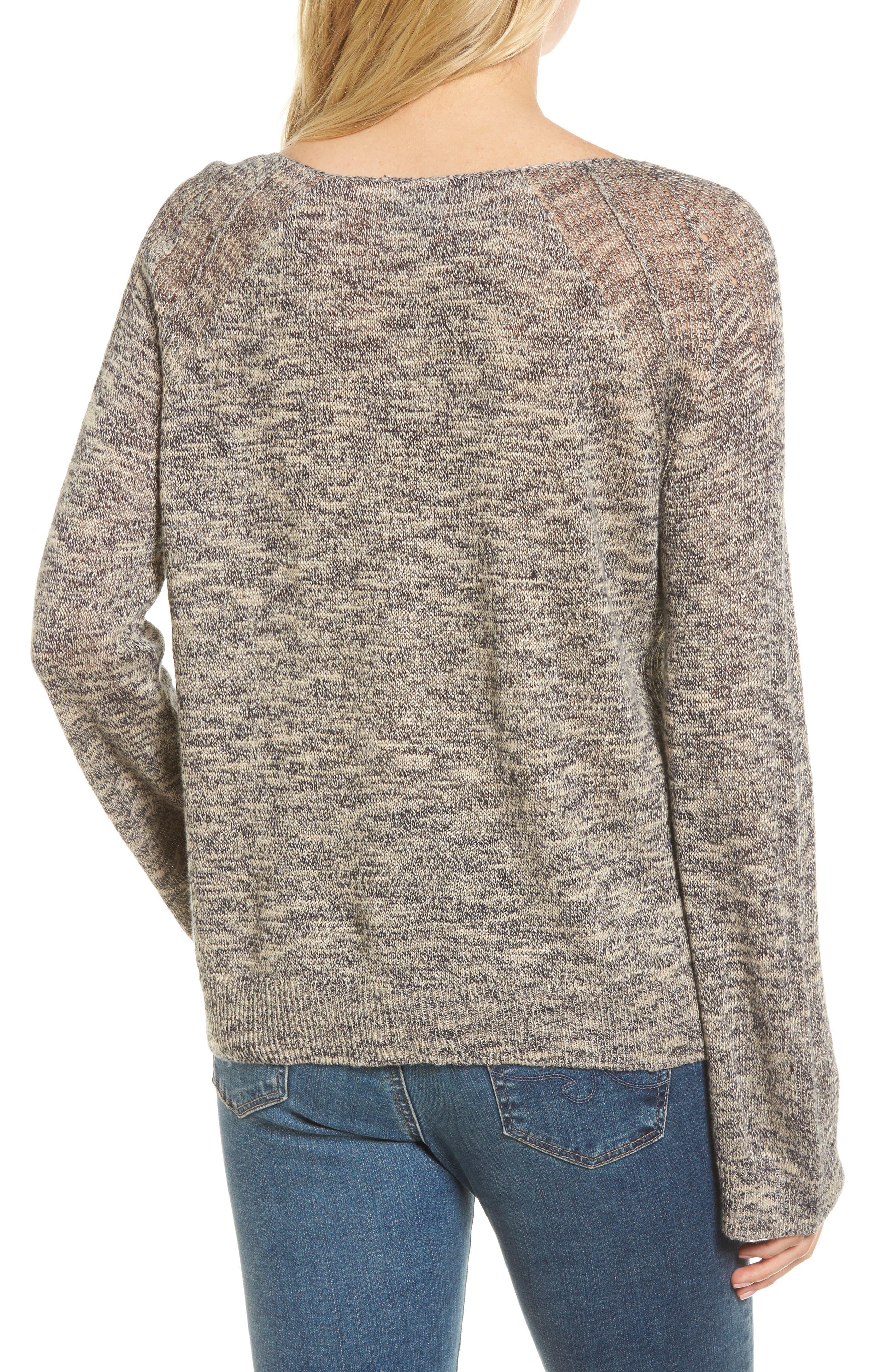 Flora Sweater,                             Alternate thumbnail 2, color,                             Speckled Navy/ Beige