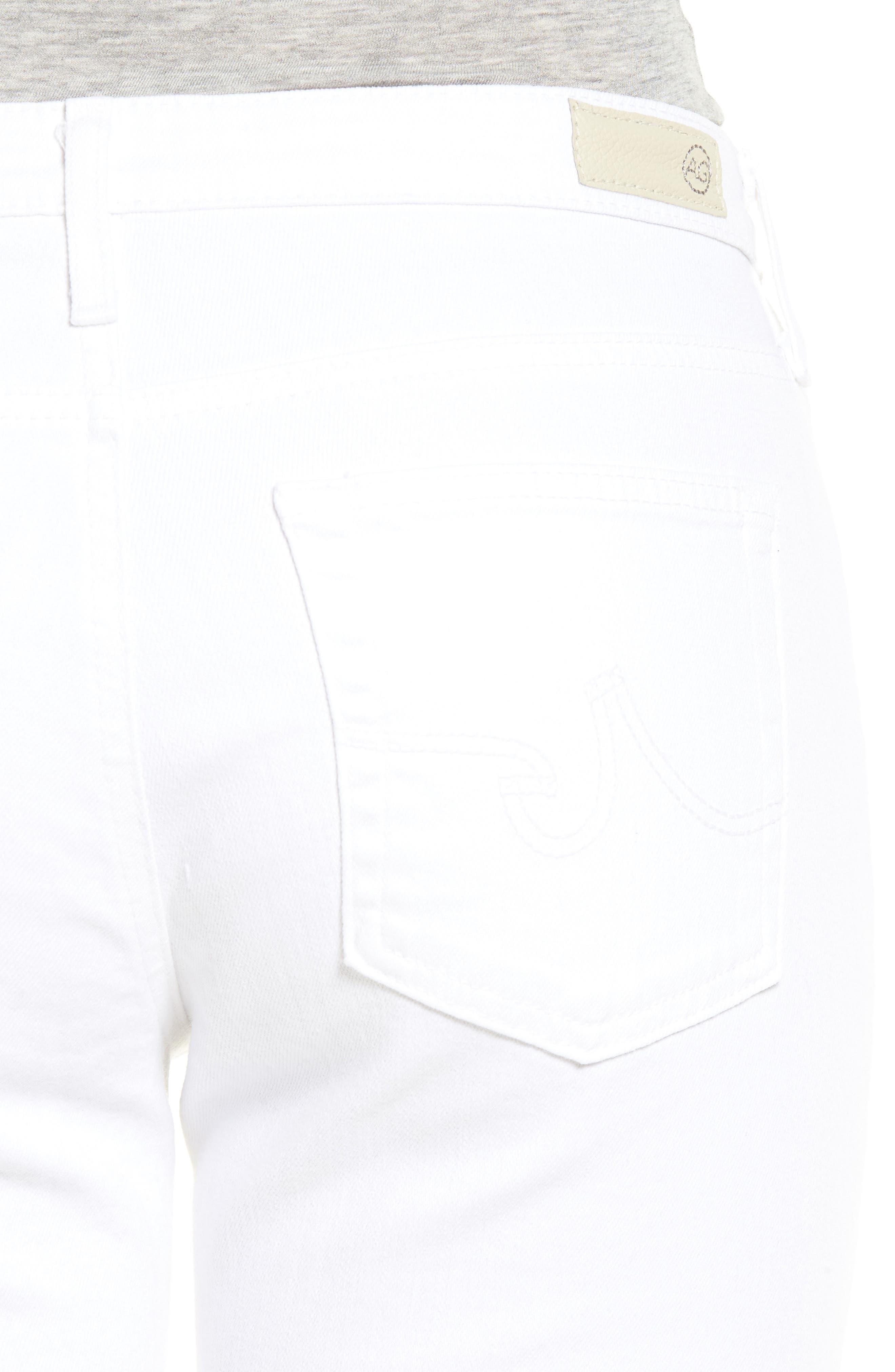 Prima Roll-Up Skinny Jeans,                             Alternate thumbnail 4, color,                             White
