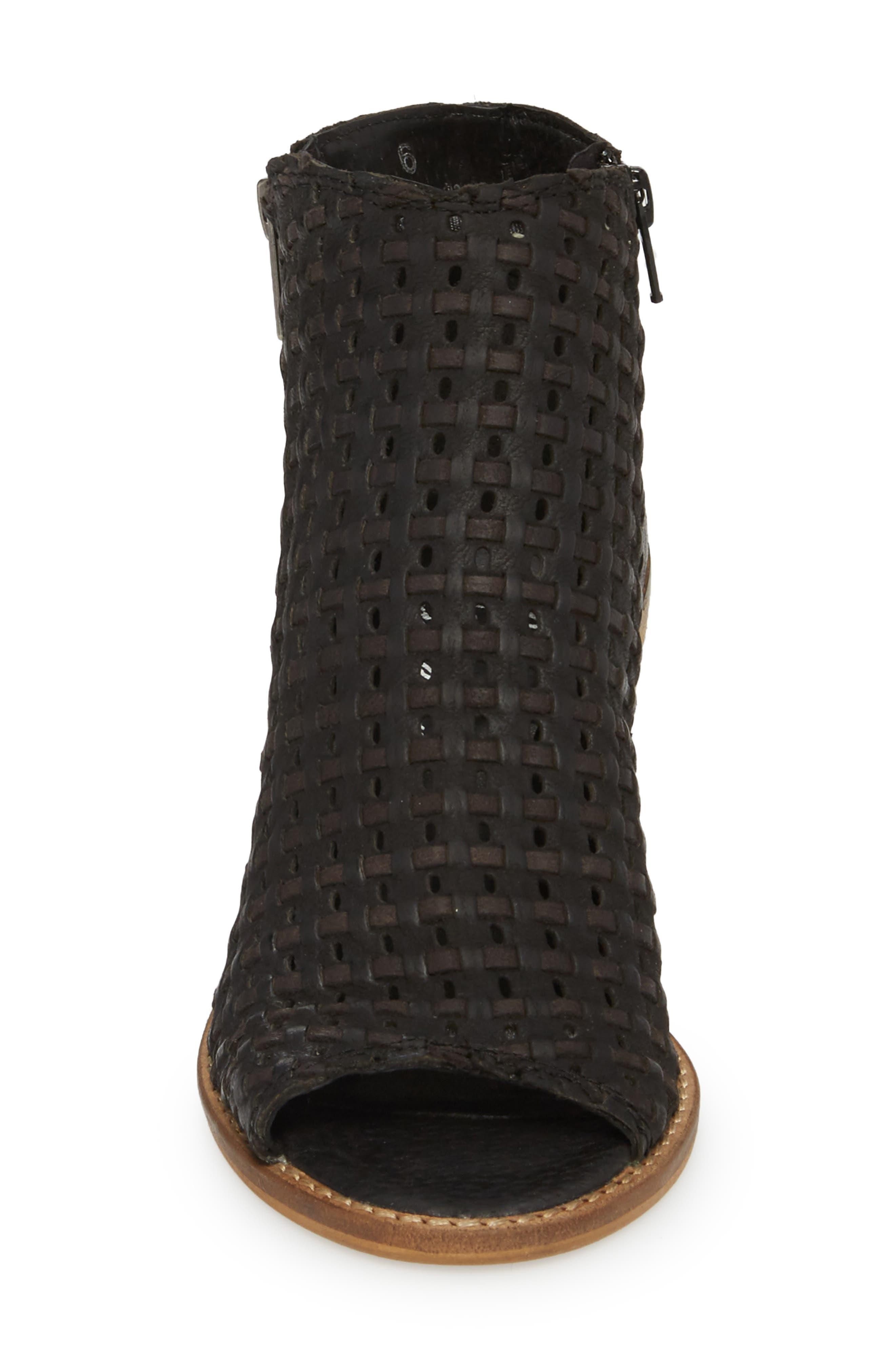 Waterfront Peep Toe Bootie,                             Alternate thumbnail 4, color,                             Black Leather
