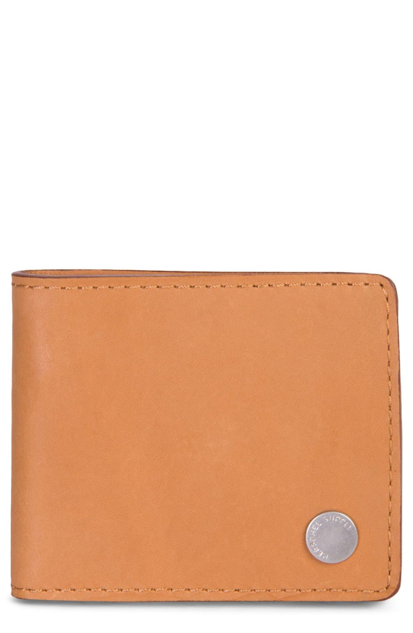 Vincent Saddle Leather Wallet,                             Main thumbnail 1, color,                             Tan