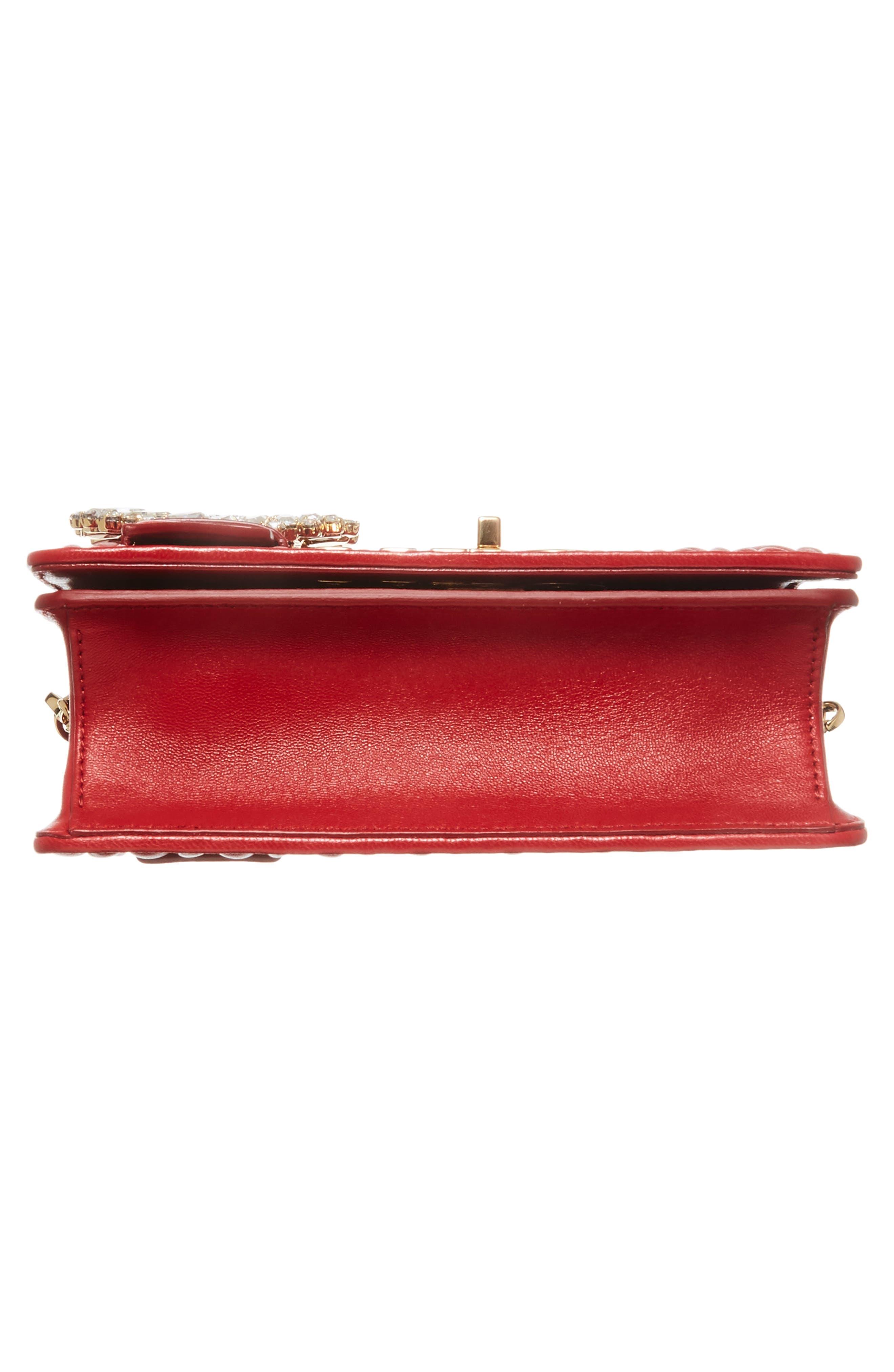 Matelassé Leather Shoulder Bag,                             Alternate thumbnail 6, color,                             Fuoco