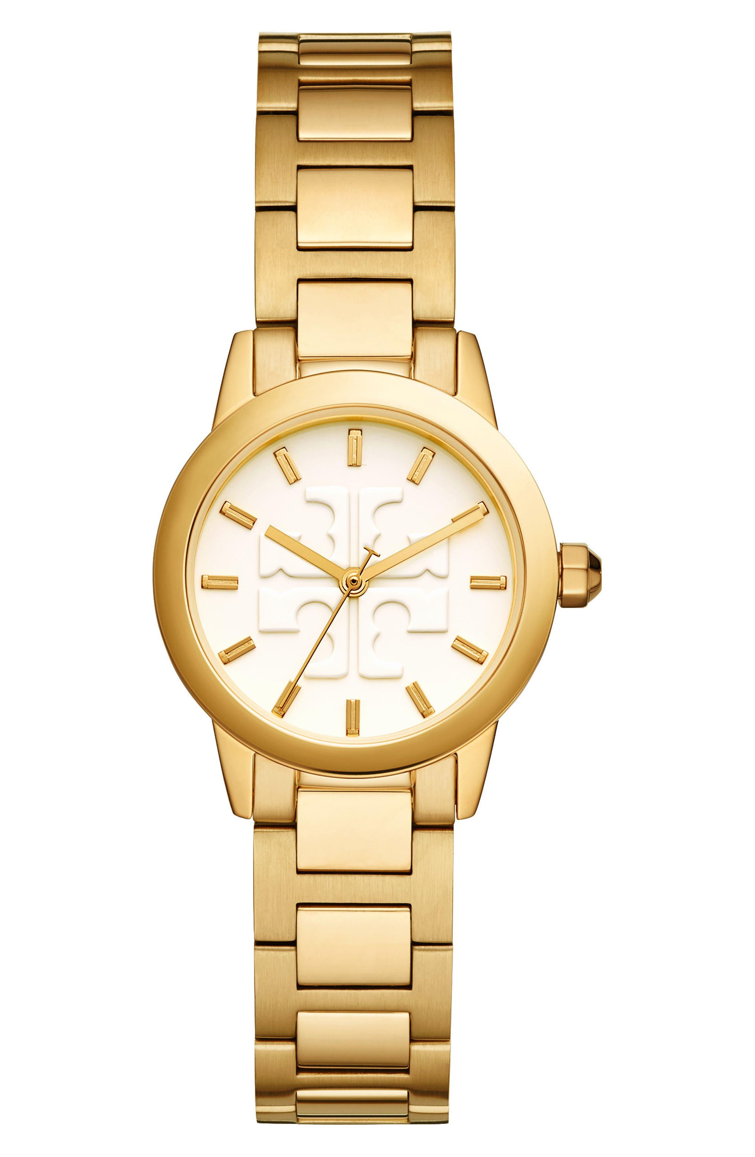 Gigi Bracelet Watch, 28mm,                             Main thumbnail 1, color,                             Gold/ Cream/ Gold