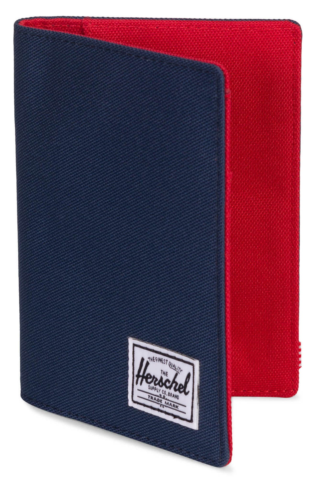 'Raynor' Passport Holder,                             Alternate thumbnail 3, color,                             Navy/ Red