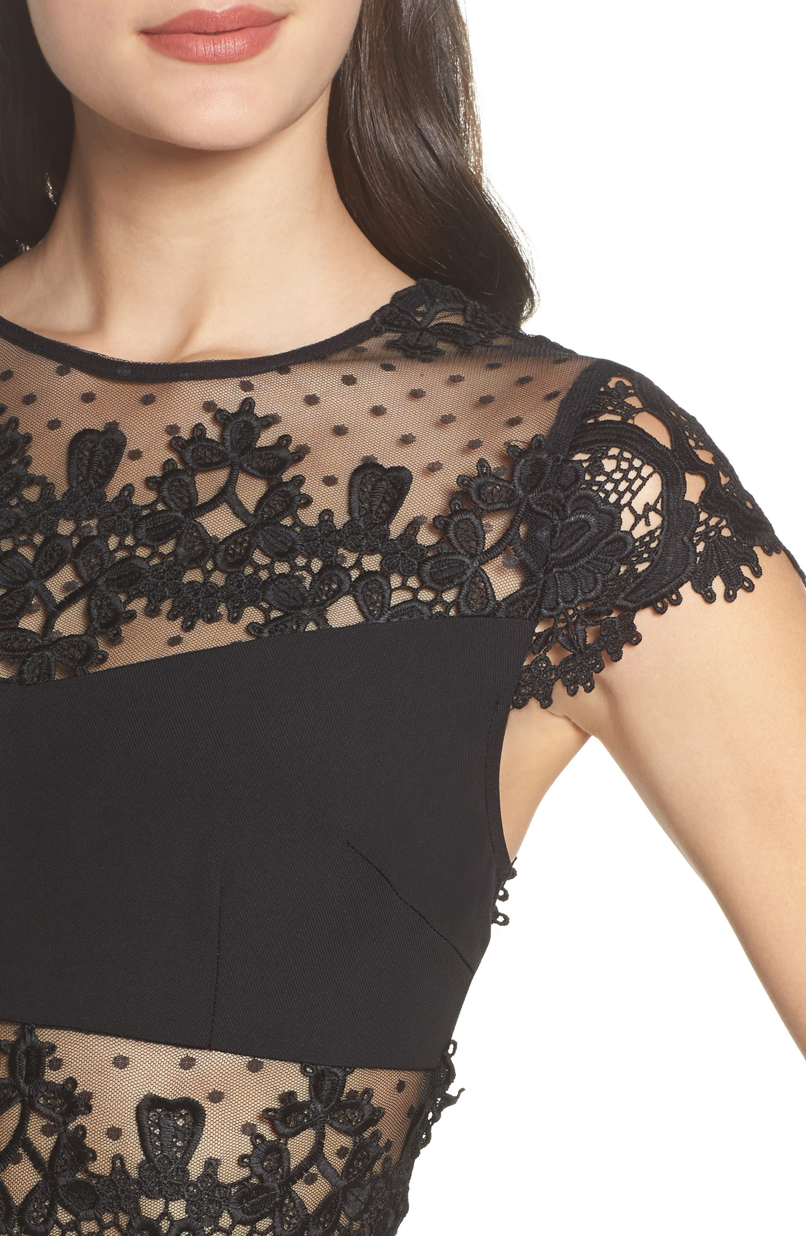 Flamenco Lace Inset Gown,                             Alternate thumbnail 5, color,                             Black/ Navy