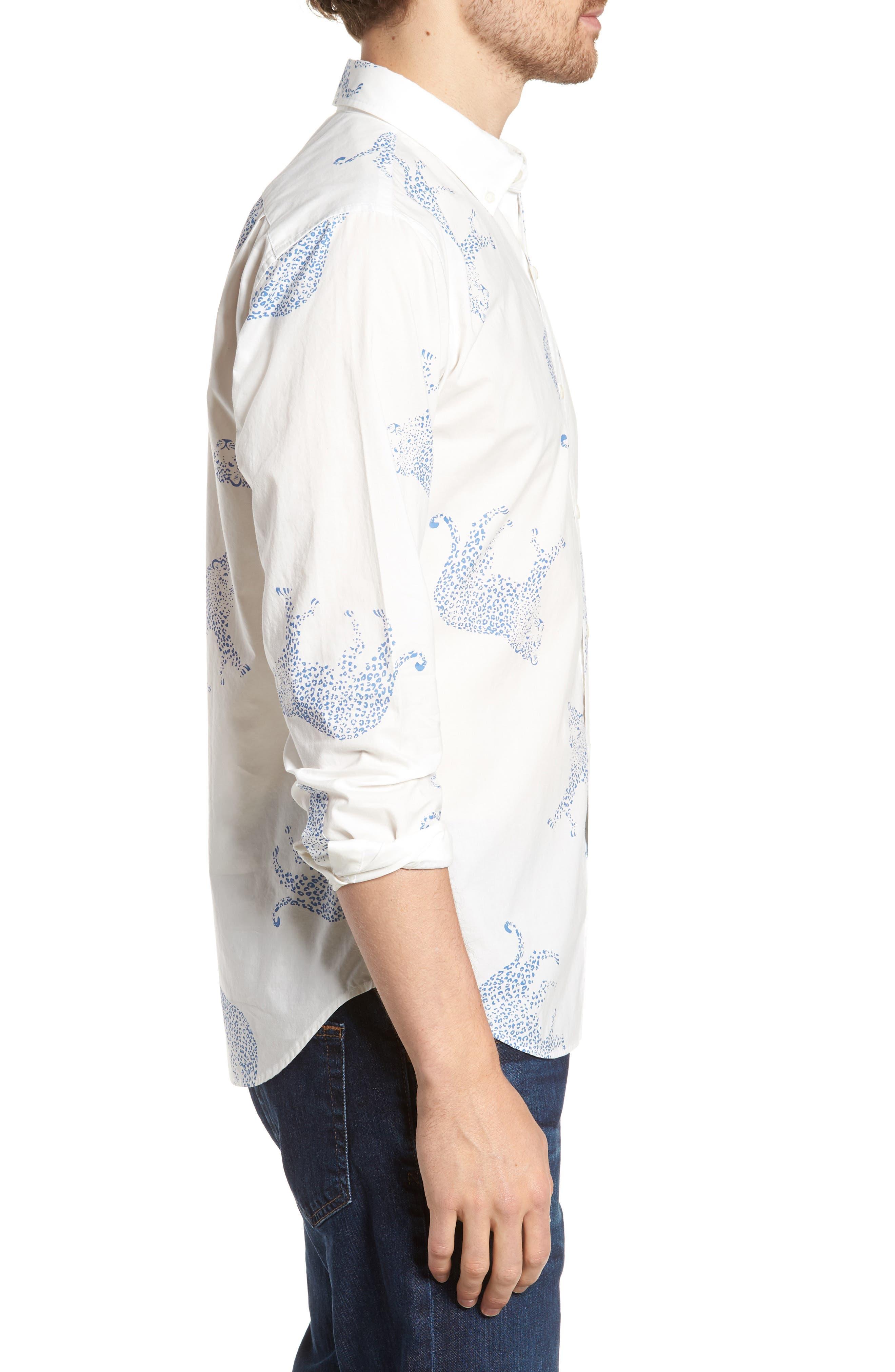 Summerweight Slim Fit Print Sport Shirt,                             Alternate thumbnail 4, color,                             Big Cheetah - Maritime Blue
