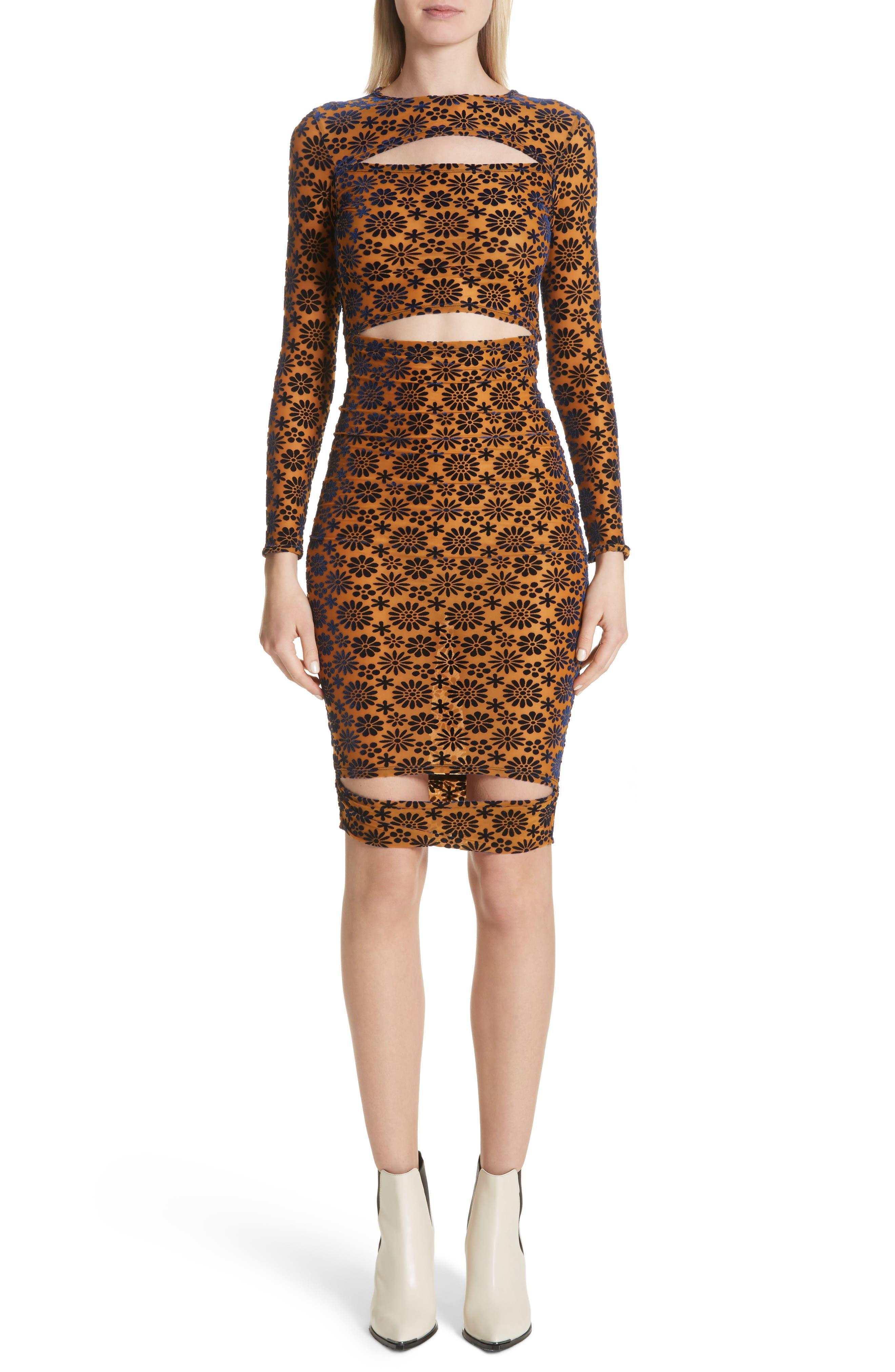 Eckhaus Latta Floral Velvet Burnout Body-Con Dress