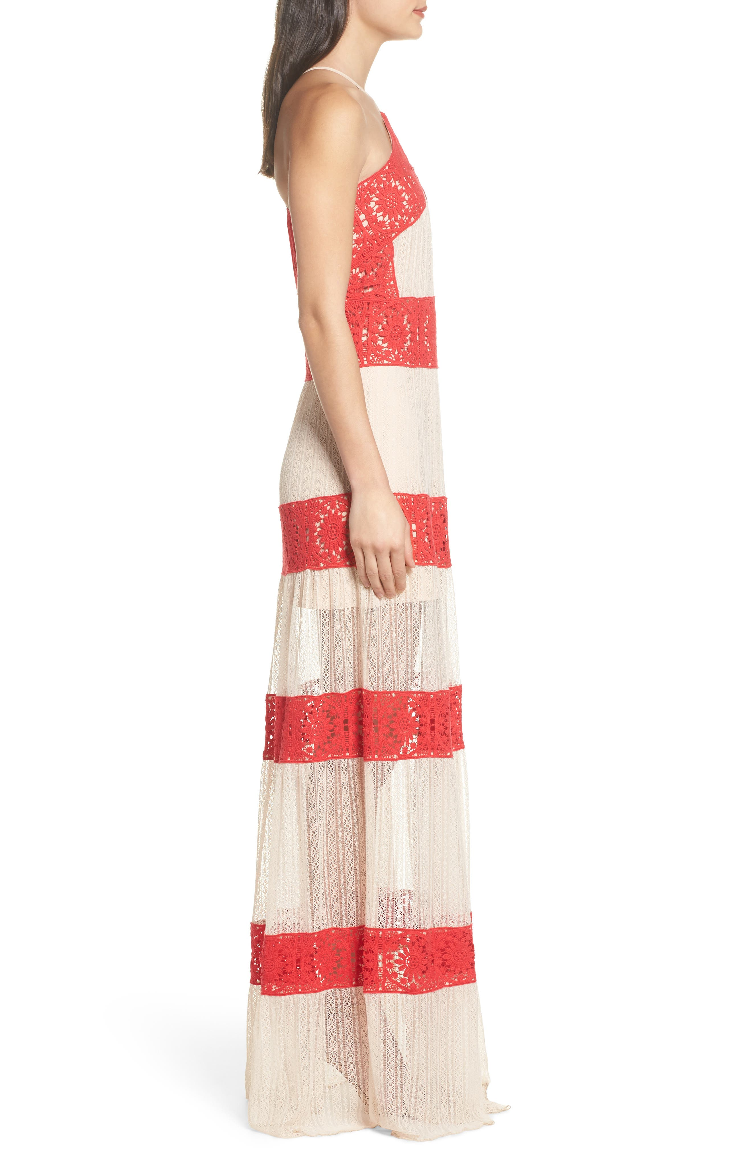 Ophelia Two-Tone Lace Maxi Dress,                             Alternate thumbnail 3, color,                             Red/ Nude