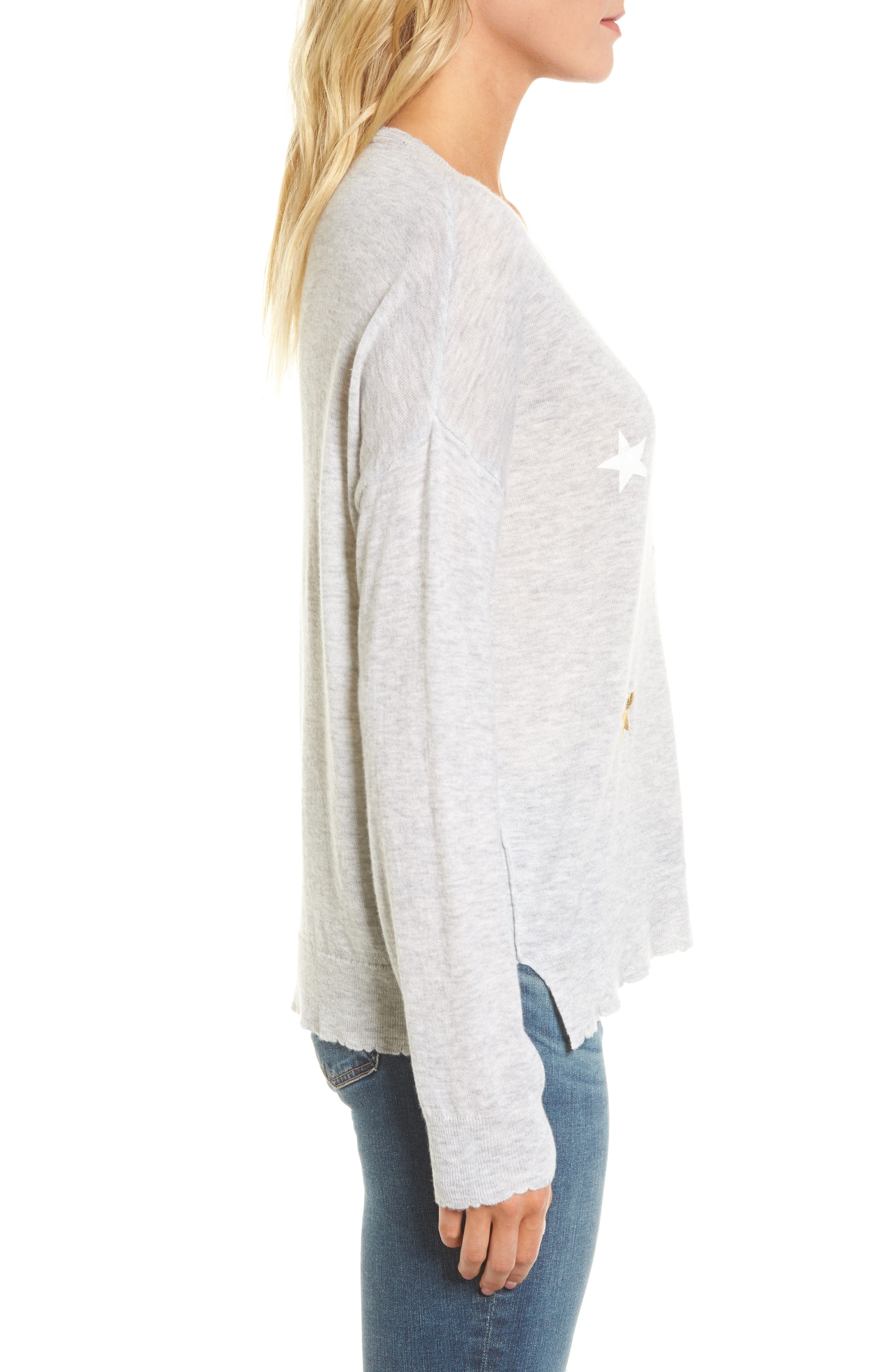 Stars Wool & Cashmere Sweater,                             Alternate thumbnail 3, color,                             Heather Grey