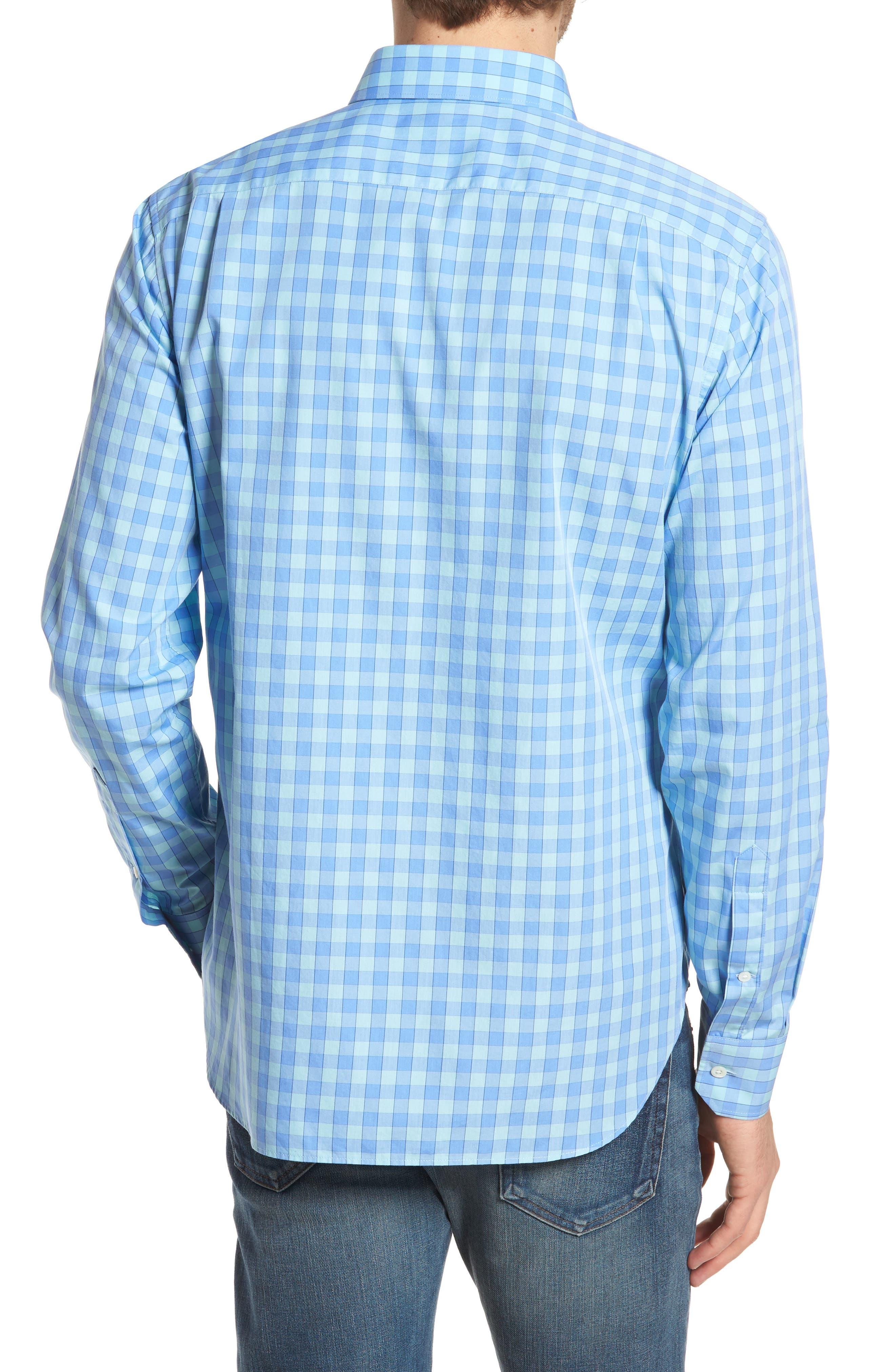 Unbutton Down 2.0 Slim Fit Gingham Sport Shirt,                             Alternate thumbnail 3, color,                             Sail Boat Gingham/ Island
