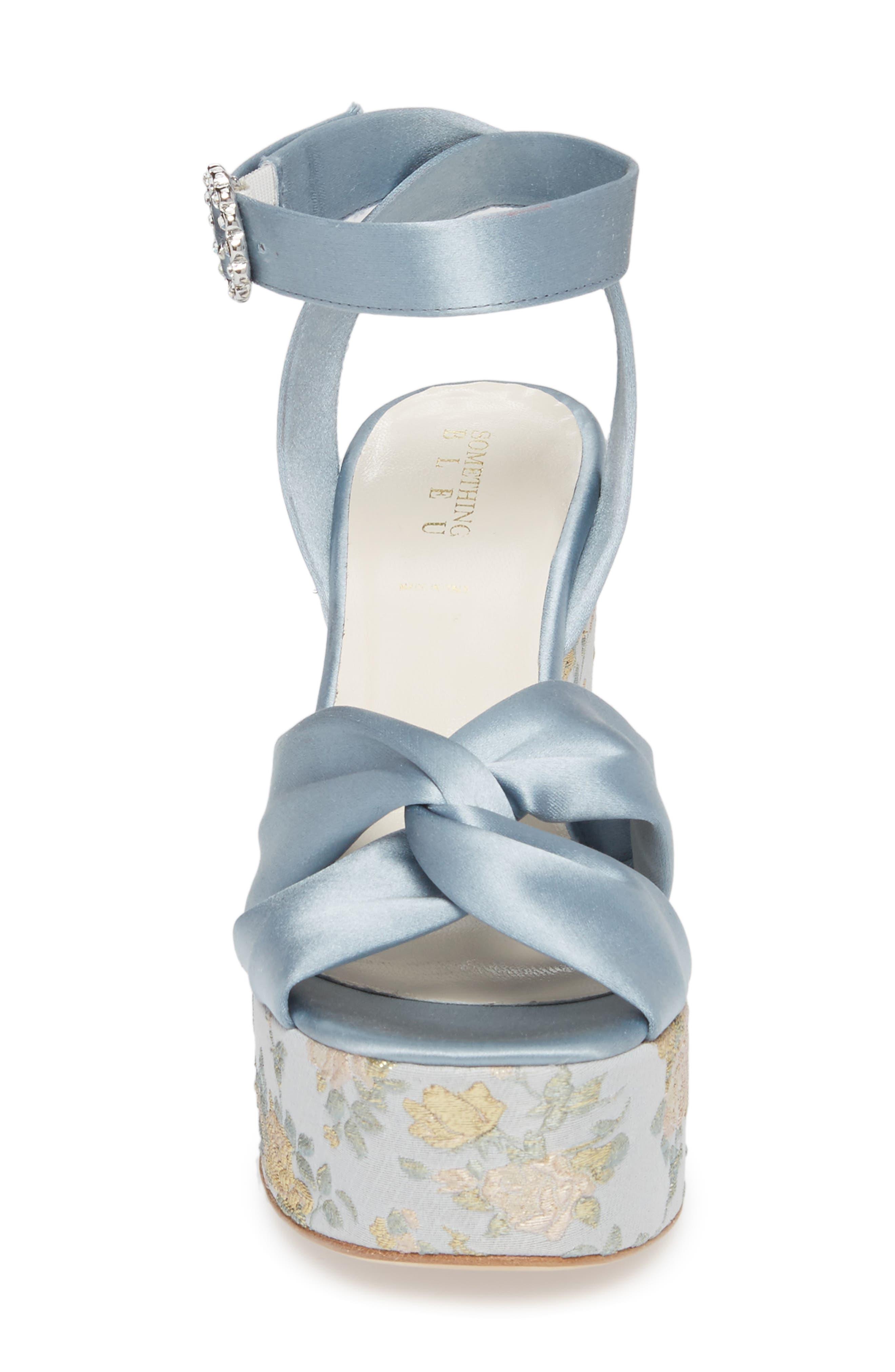 Serena Brocade Platform Sandal,                             Alternate thumbnail 4, color,                             Pearl Blue Satin