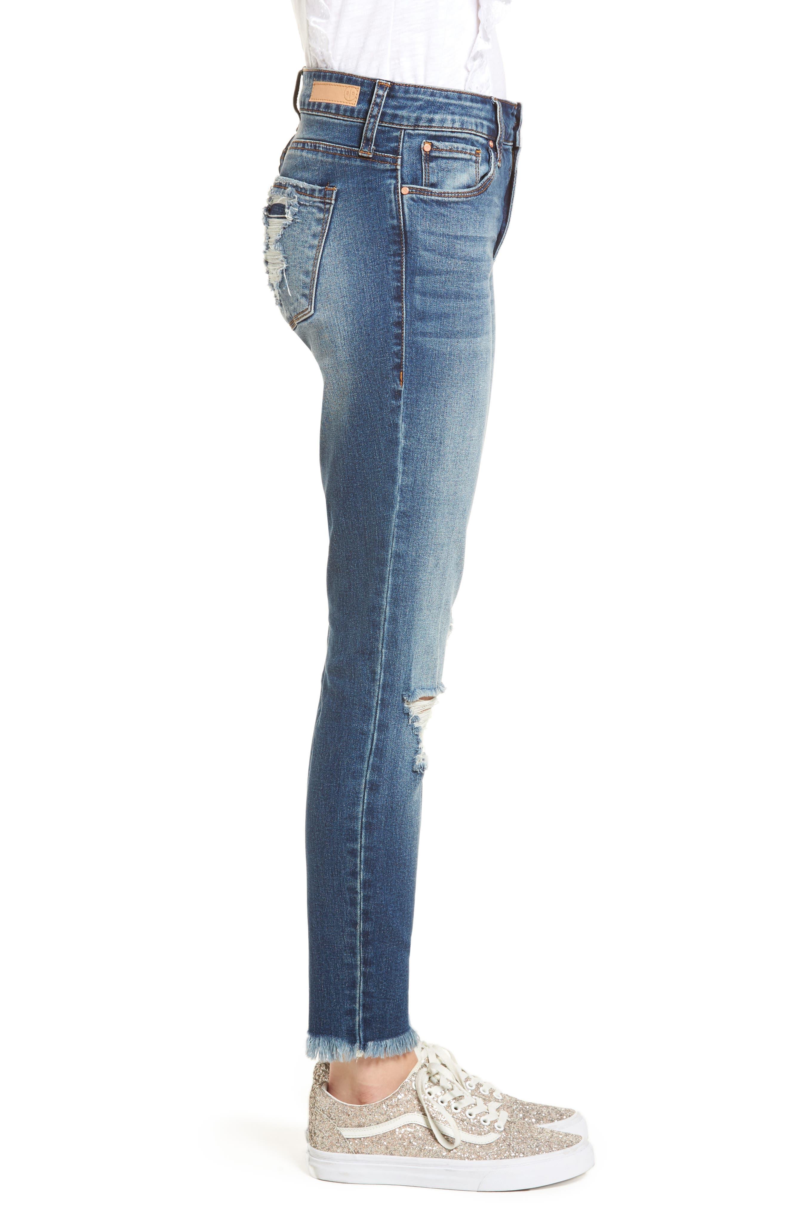 Distressed Fray Hem Skinny Jeans,                             Alternate thumbnail 4, color,                             Destroy