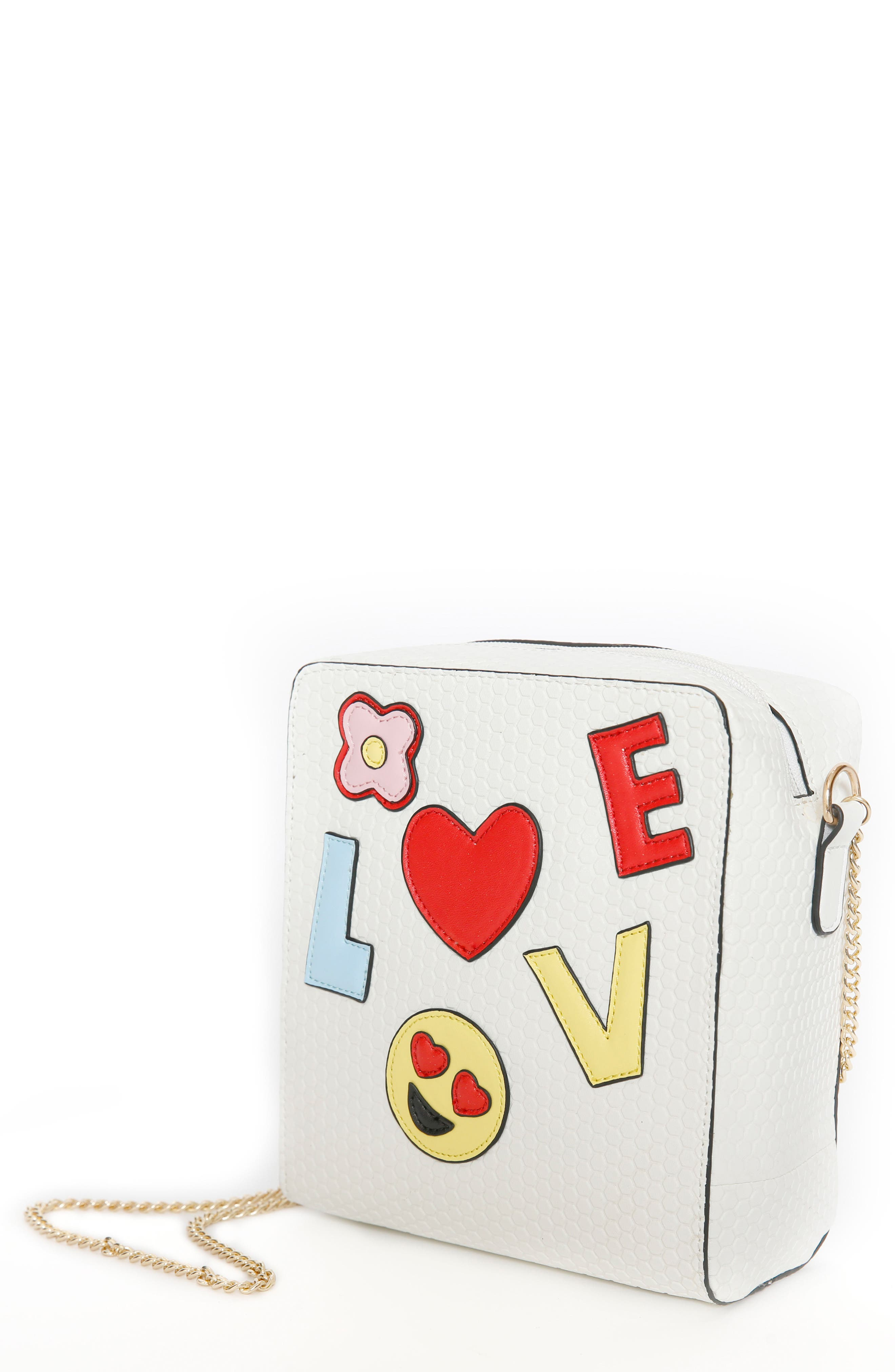 Emoji Love Faux Leather Crossbody Bag,                             Main thumbnail 1, color,                             White
