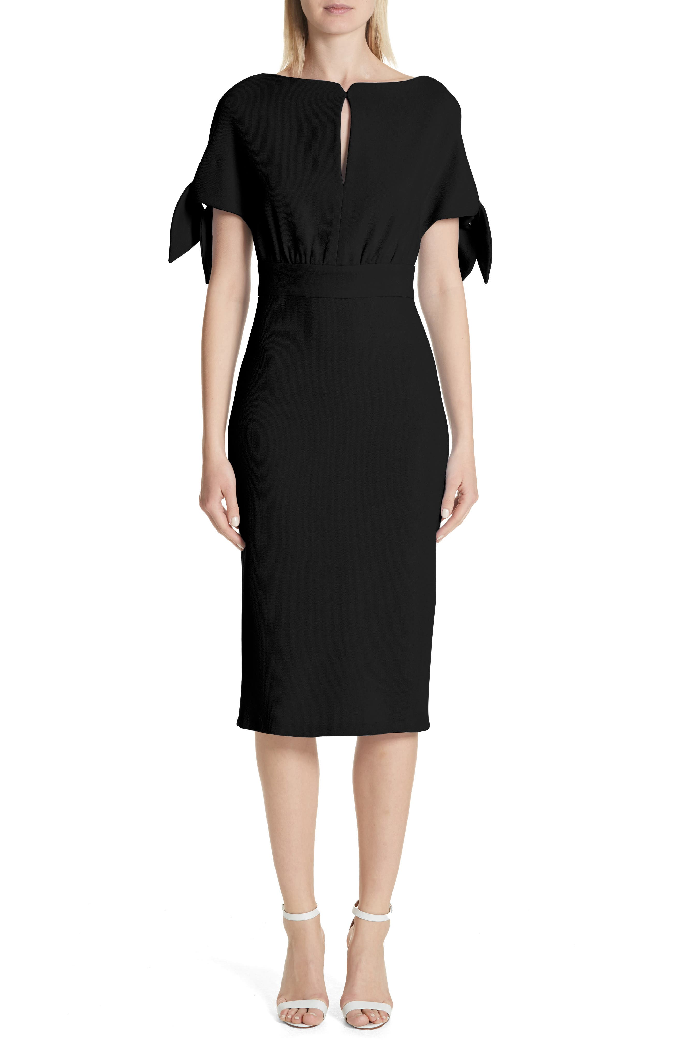 Lela Rose Tie Sleeve Wool Blend Sheath Dress
