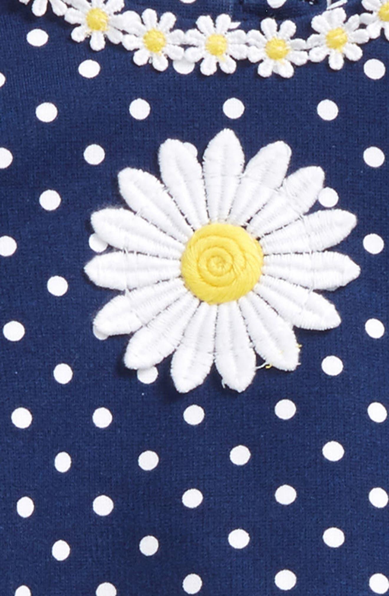 Daisy Polka Dot Dress & Stripe Leggings Set,                             Alternate thumbnail 2, color,                             Navy