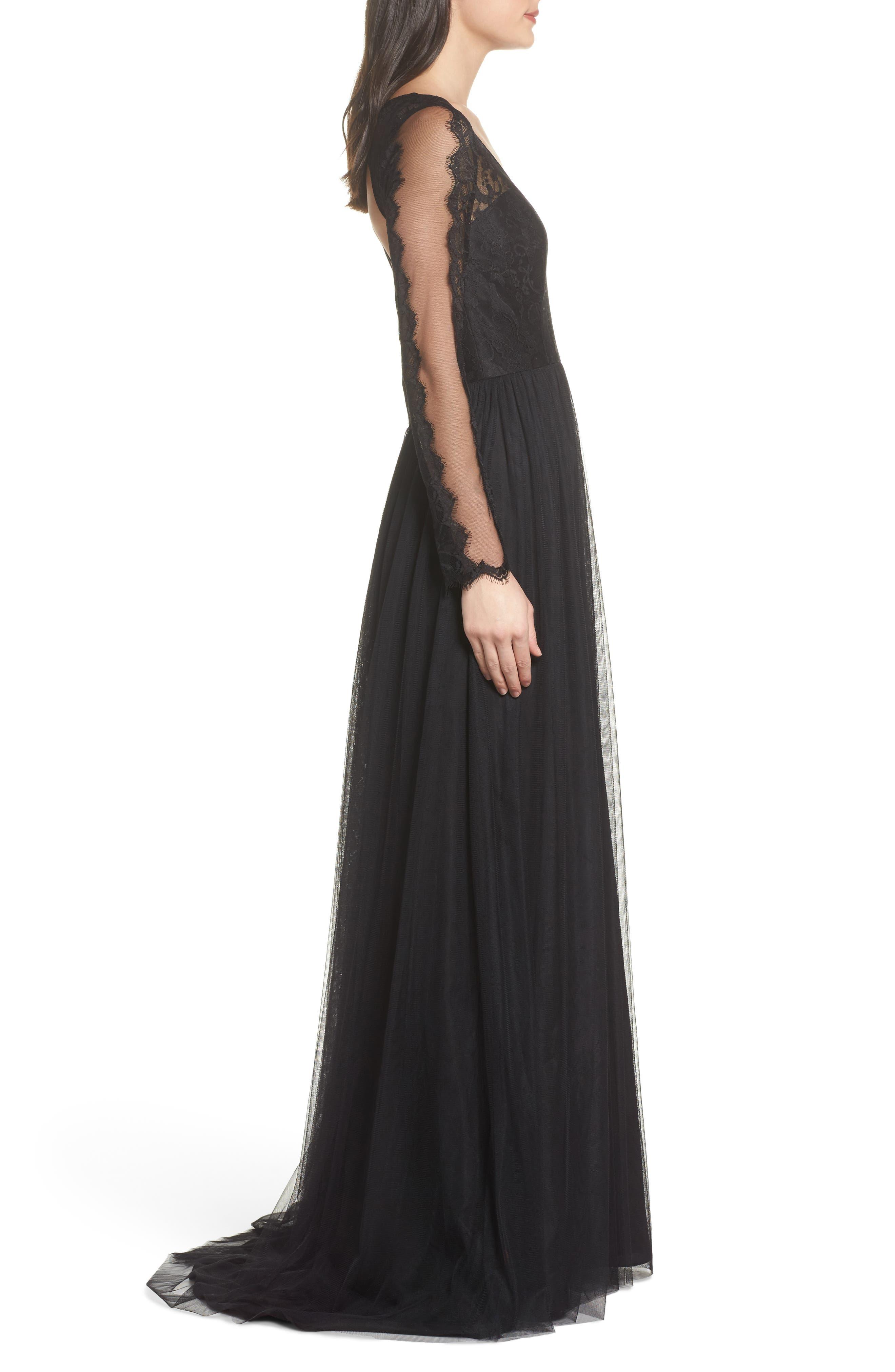 Open Back Lace & Net A-Line Gown,                             Alternate thumbnail 3, color,                             Black