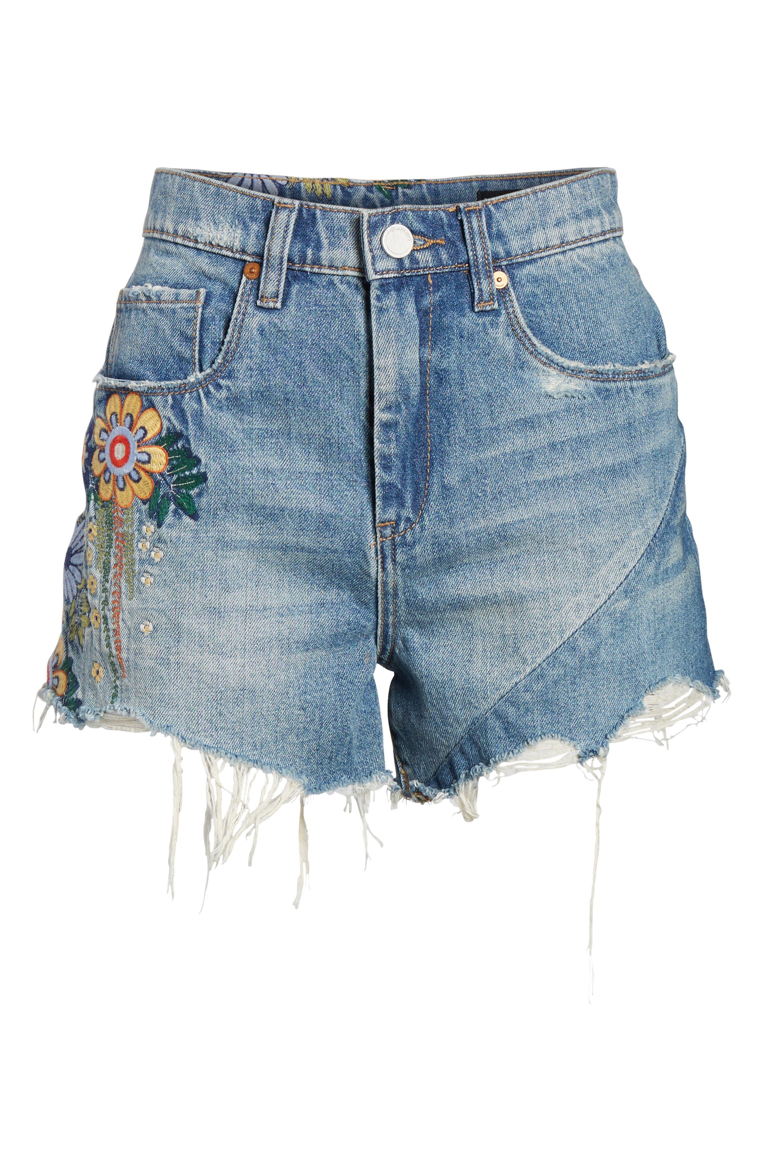 Sonic Bloom Embroidered Denim Shorts,                             Alternate thumbnail 6, color,                             Blue