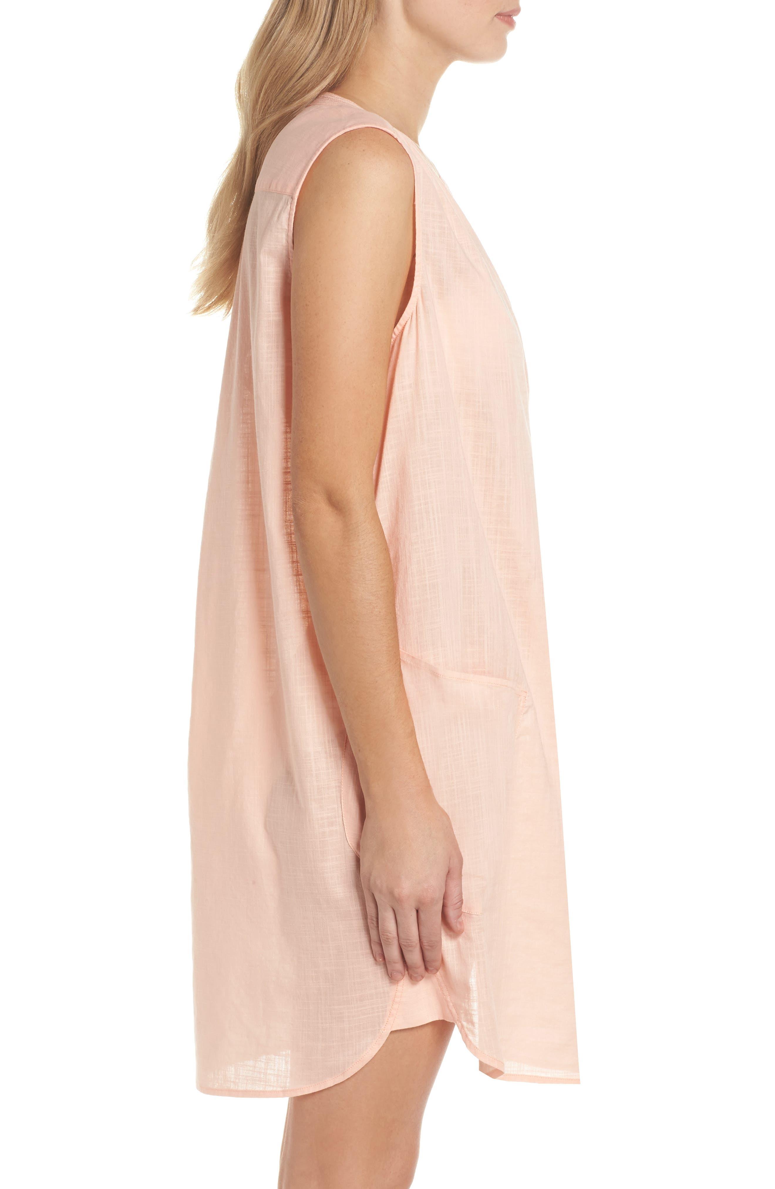 Palm Beach Cover-Up Dress,                             Alternate thumbnail 3, color,                             Peach Melba