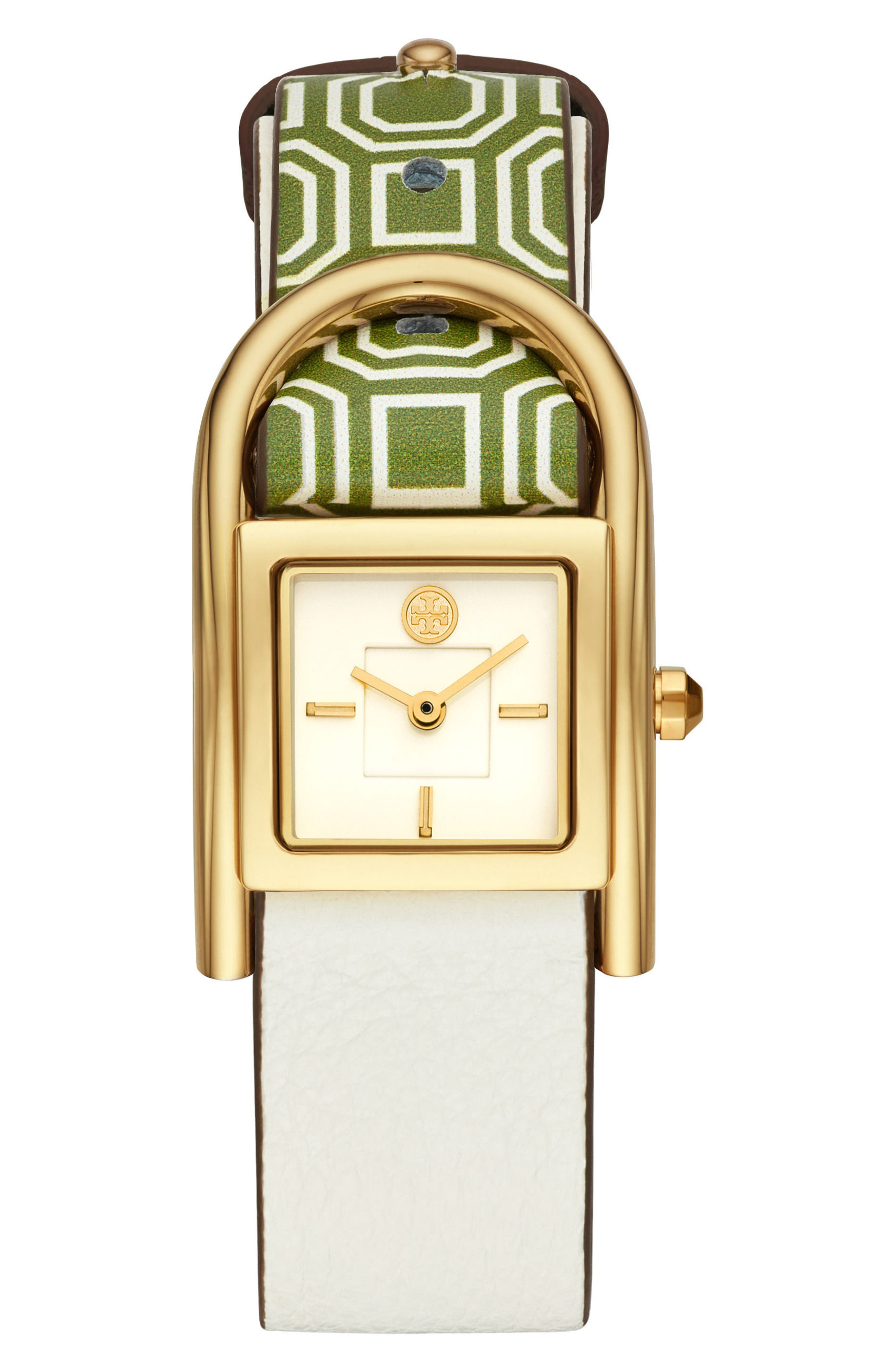Thayer Leather Strap Watch, 25mm x 39mm,                         Main,                         color, Green/ Cream/ Gold