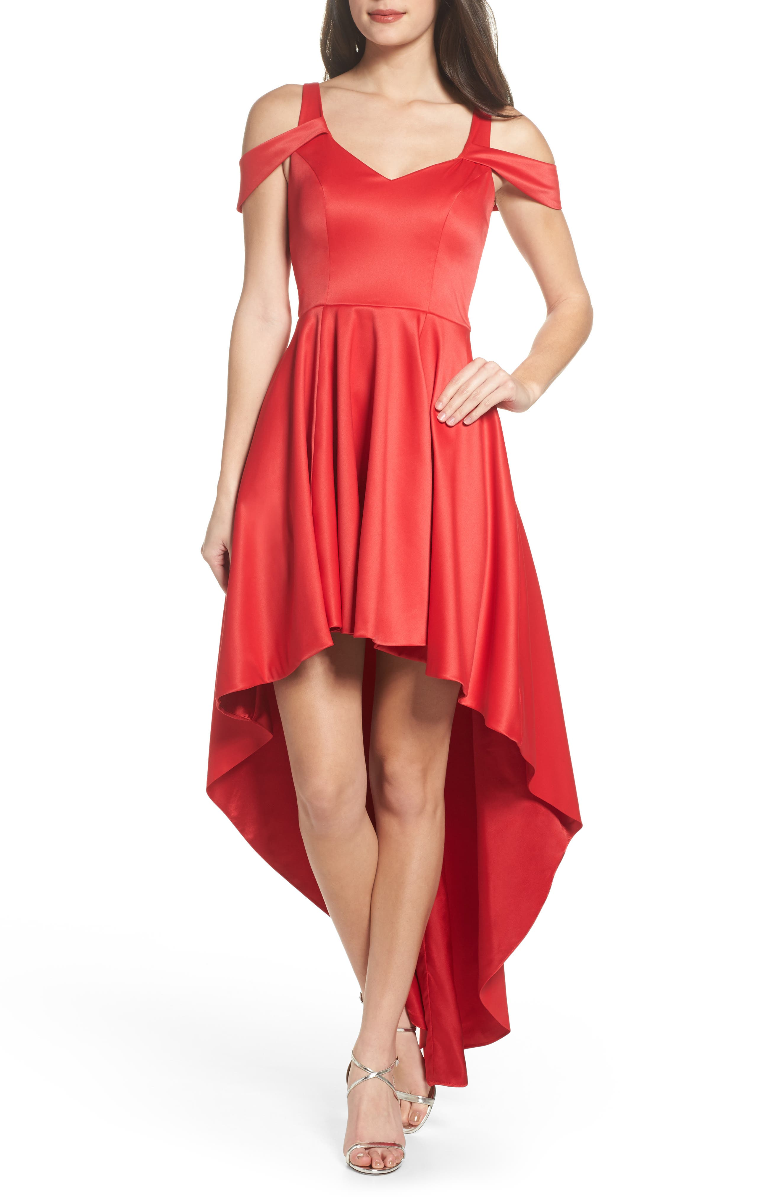 Cold Shoulder High/Low Gown,                             Main thumbnail 1, color,                             Red