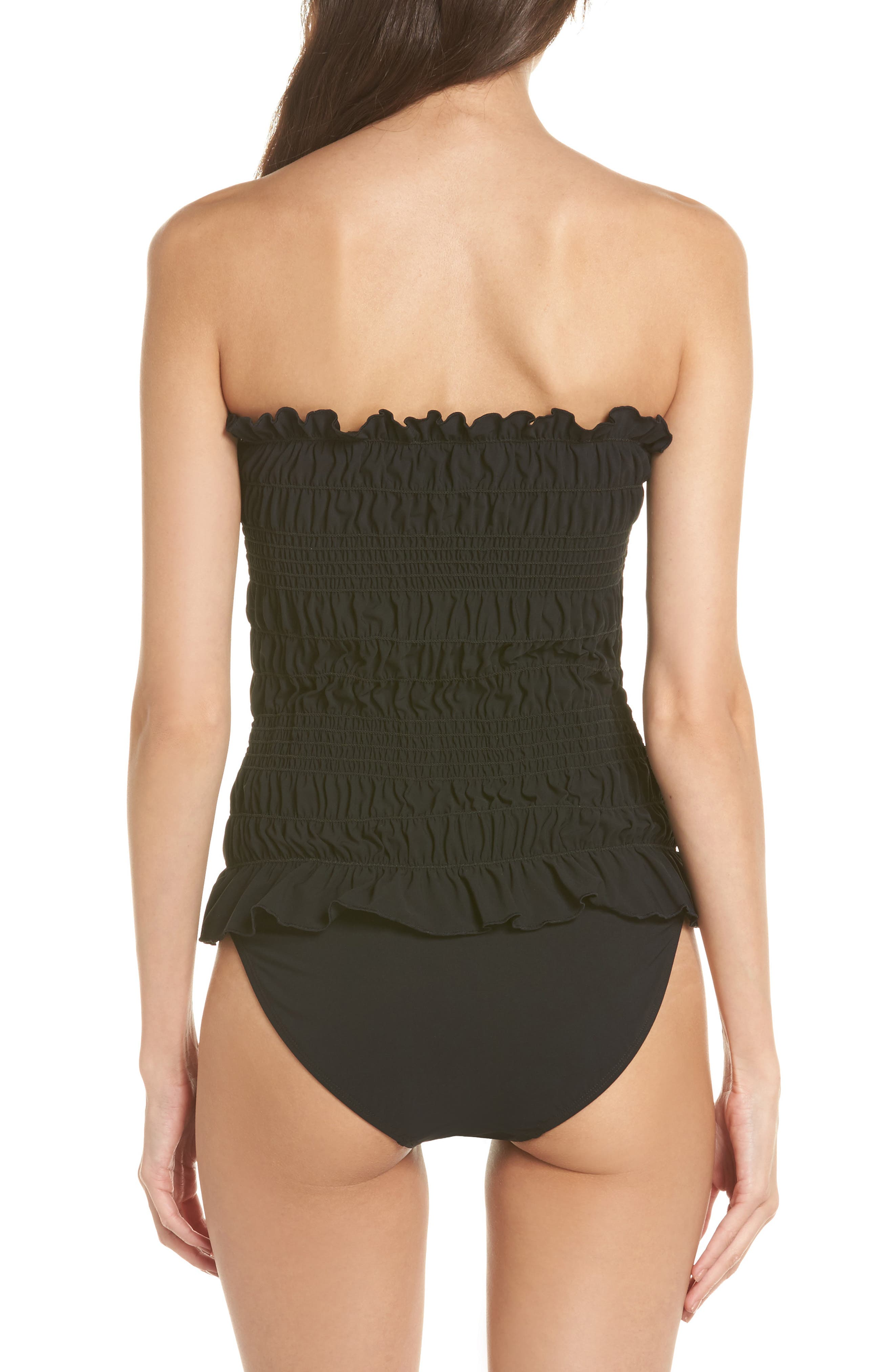 Costa Smocked One-Piece Swimsuit,                             Alternate thumbnail 3, color,                             Black / Black