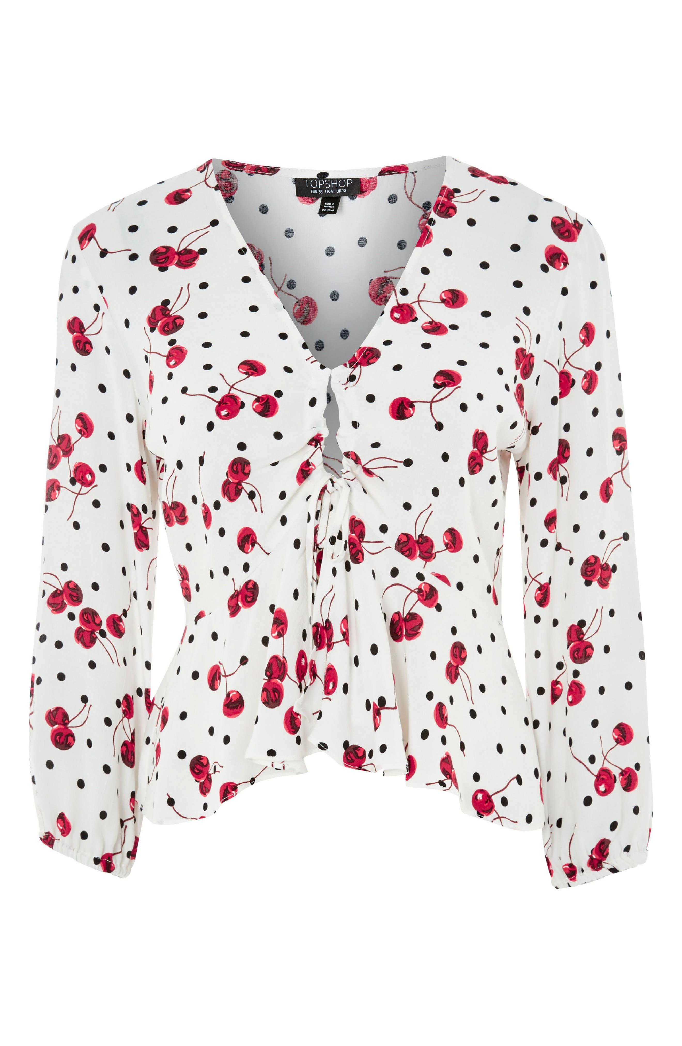 Alternate Image 5  - Topshop Cherry Spot Print Blouse