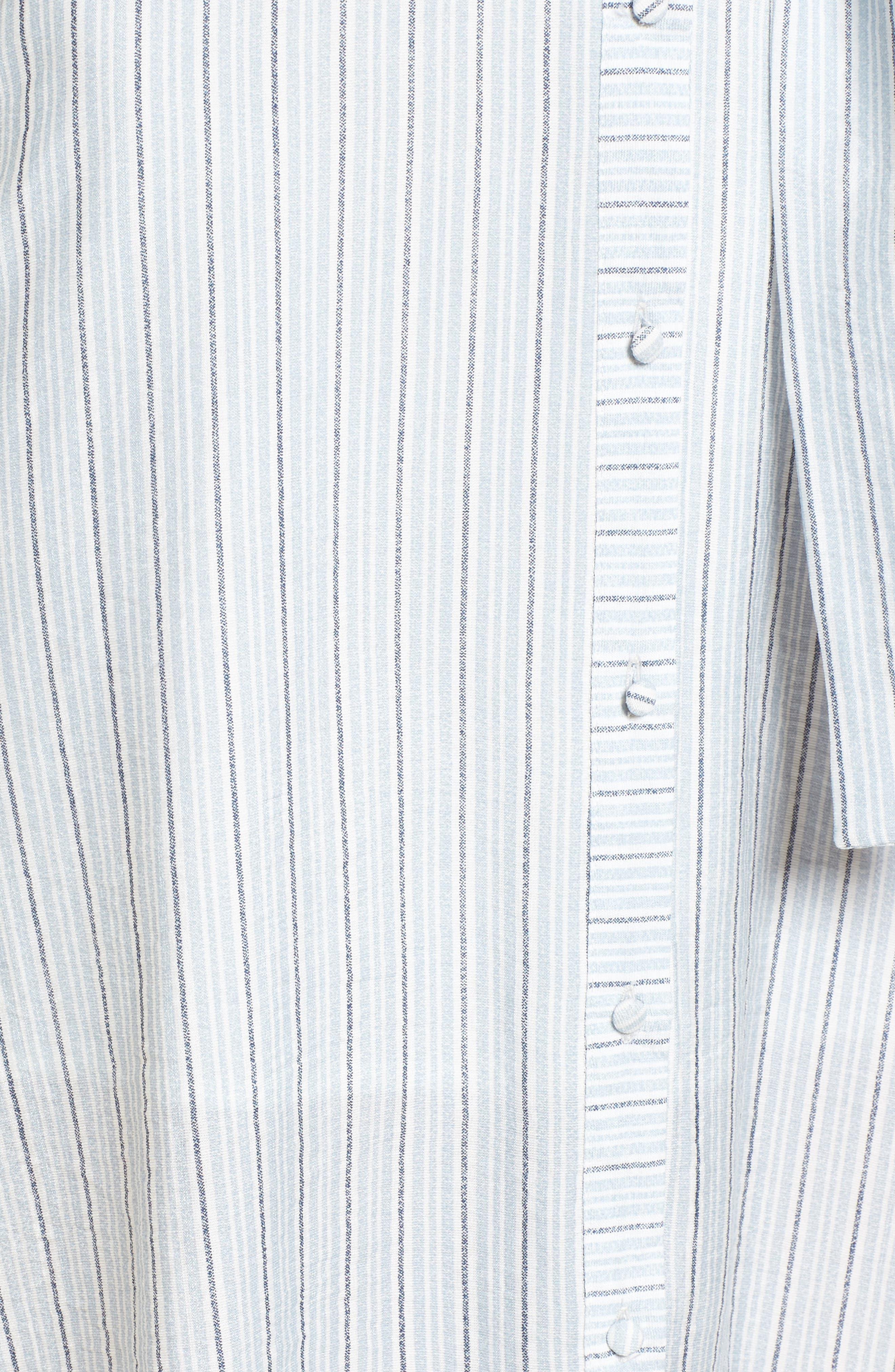 Button Front Midi Dress,                             Alternate thumbnail 5, color,                             Light-Blue
